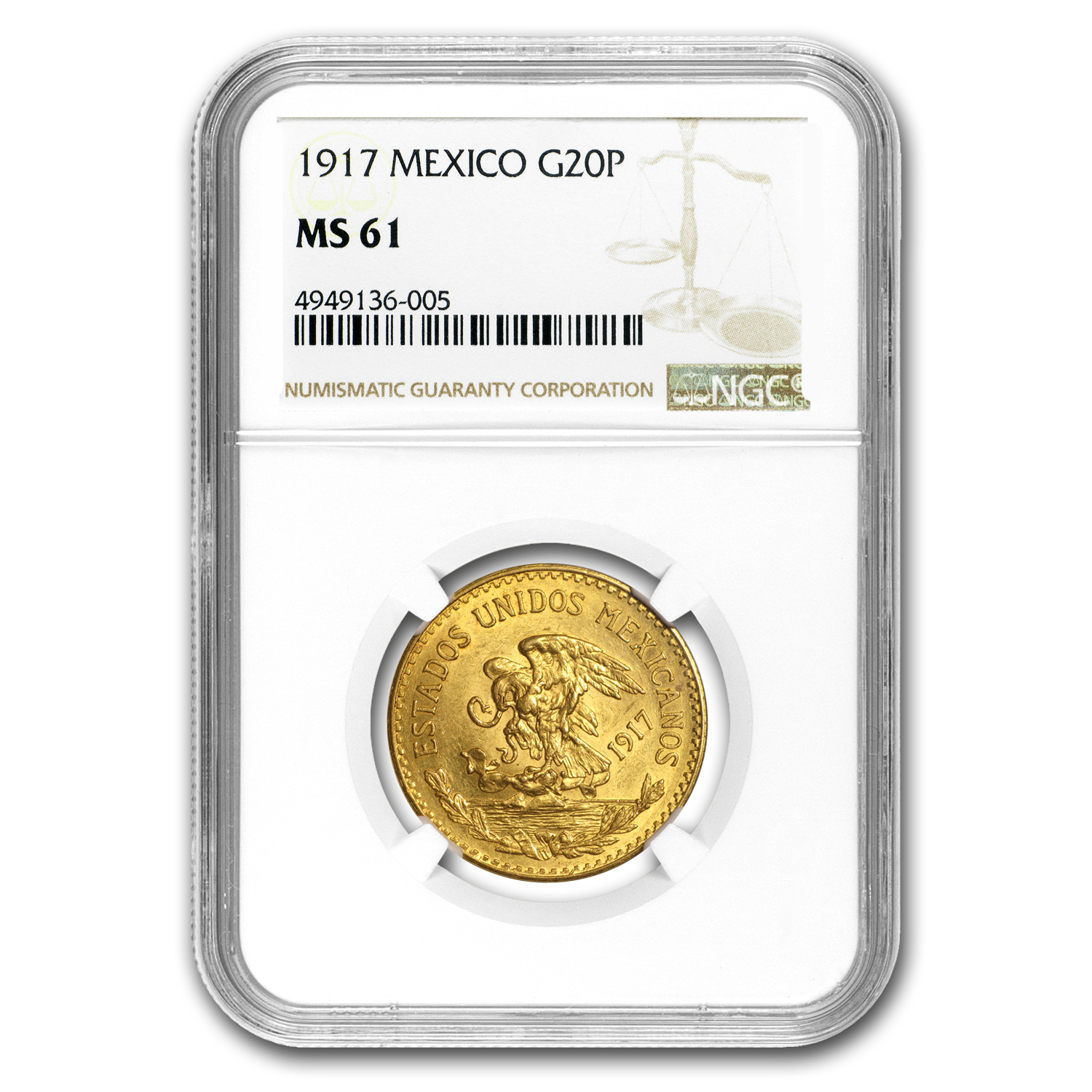 1917 Mexico Gold 20 Pesos MS-61 NGC