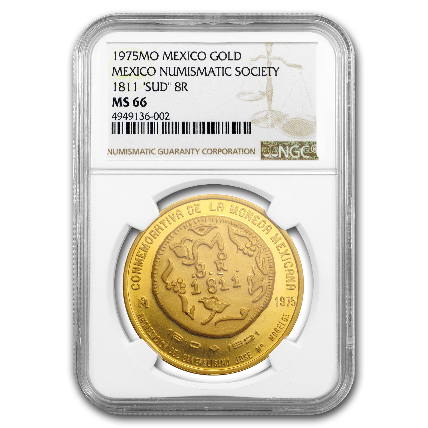 "1975 Mexico Gold Medal Numismatic Society 1811 ""SUD"" 8R MS-66 NGC"