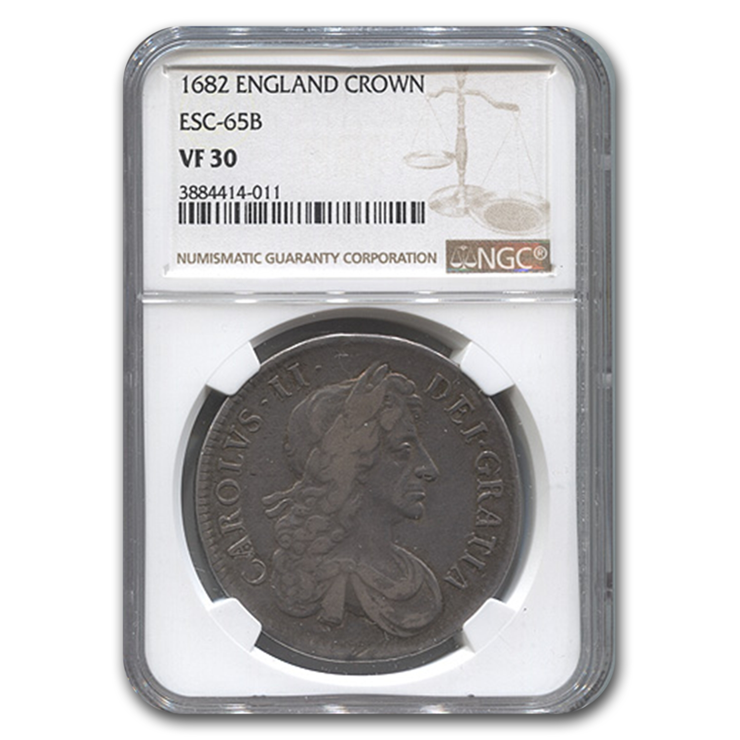 1682 Great Britain Silver Crown Charles II VF-30 NGC