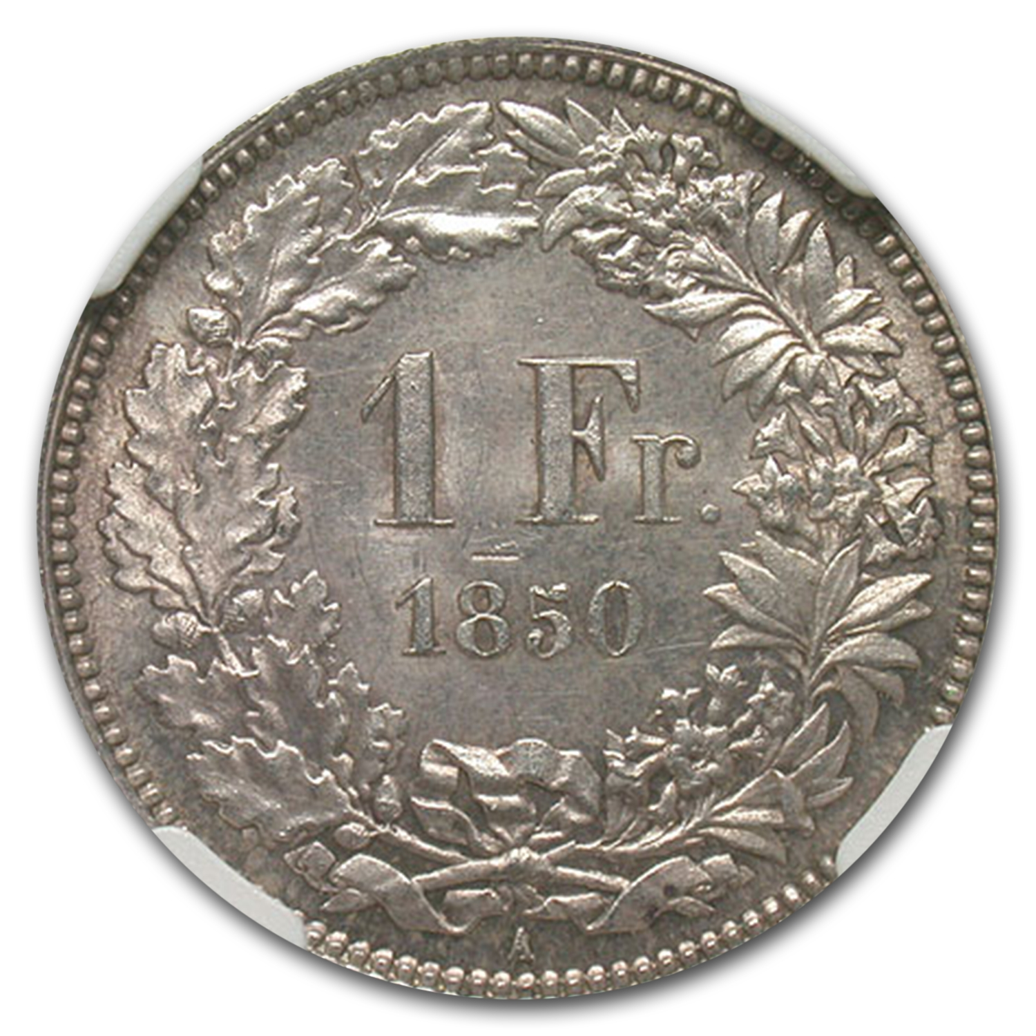 1850-A Switzerland Silver 1 Franc MS-63 NGC