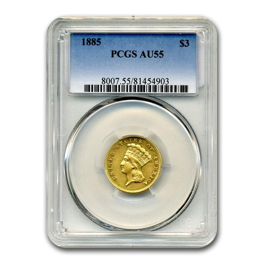 1885 Gold $3 Princess AU-55 PCGS
