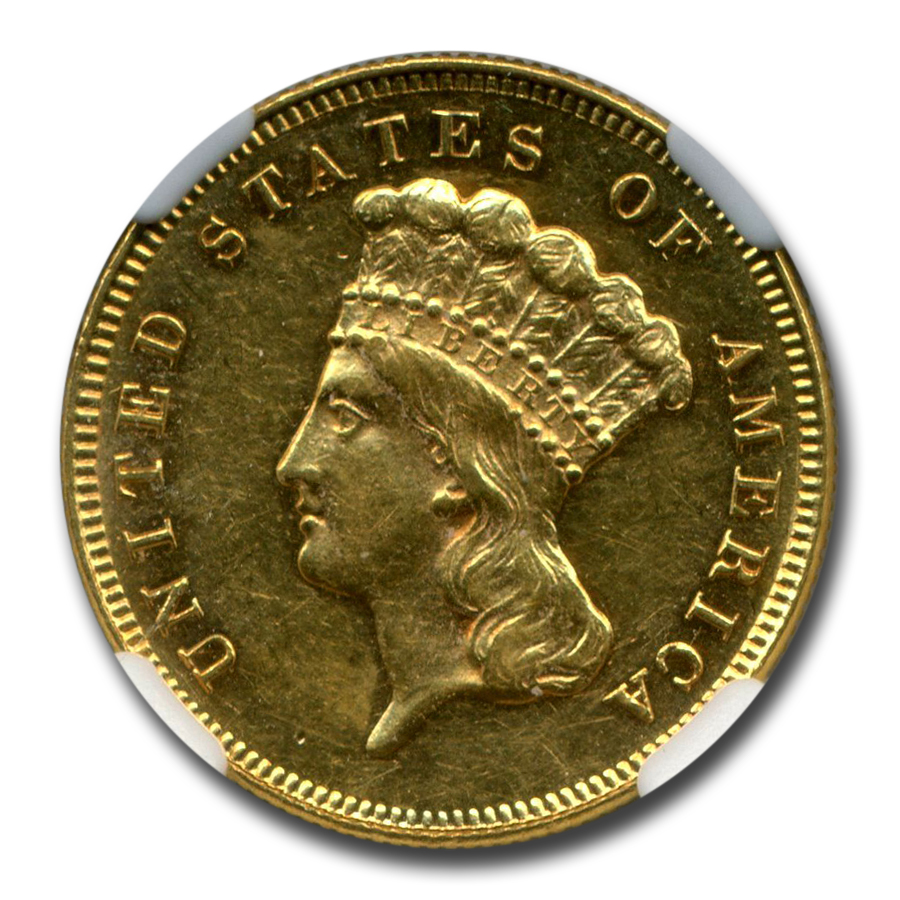 1886 Gold $3 Princess AU-58 NGC (PL)