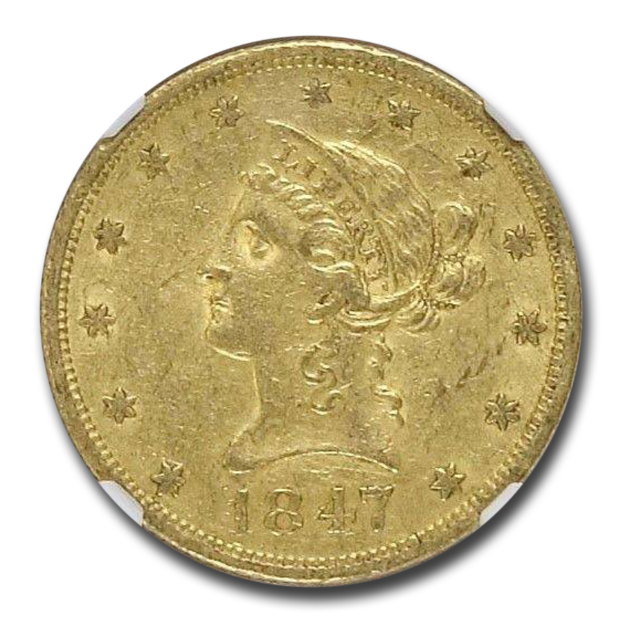 1847-O $10 Liberty Gold Eagle AU-53 NGC (VP-001)