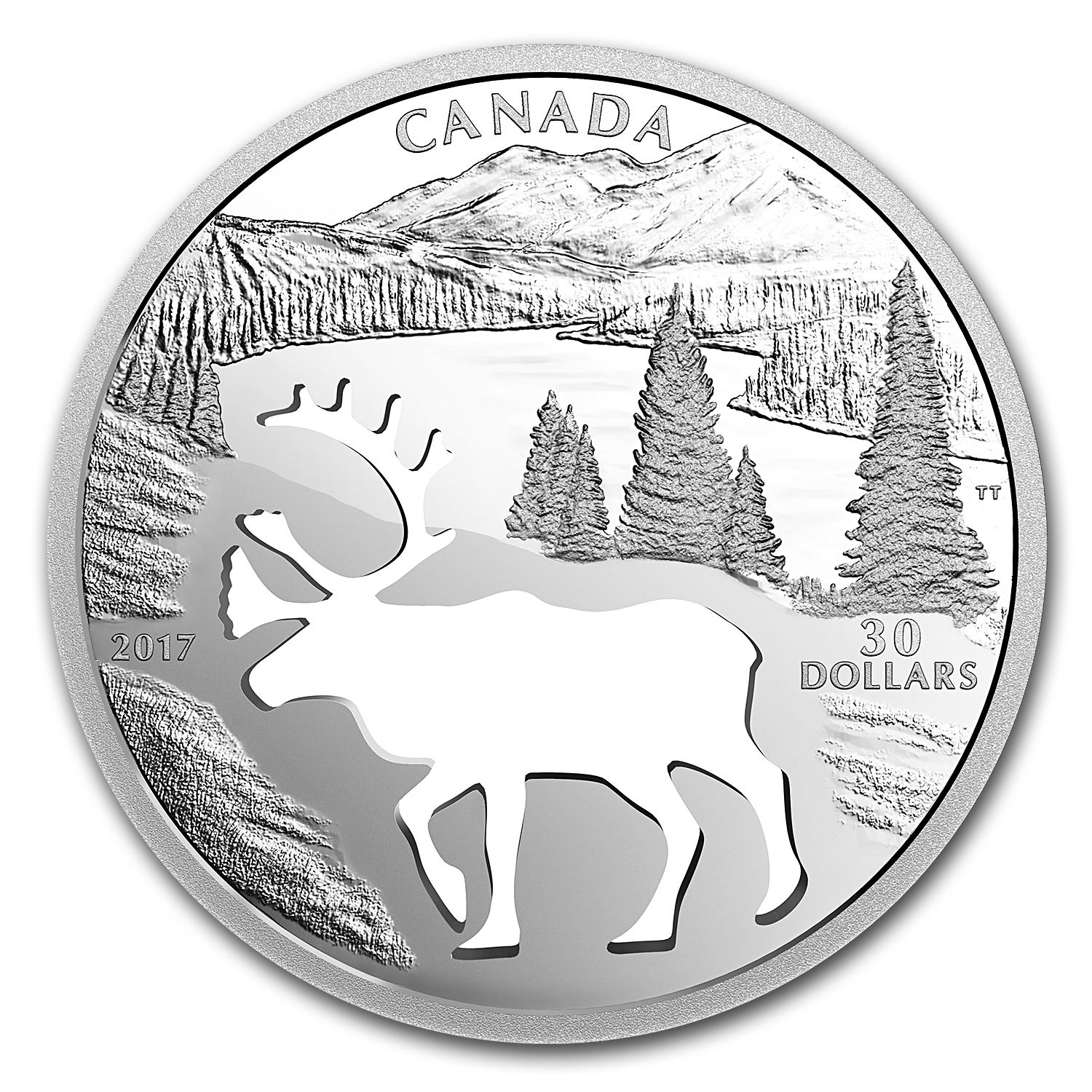 2017 Canada $30 Silver Endangered Animal Cut Out Woodland Caribou