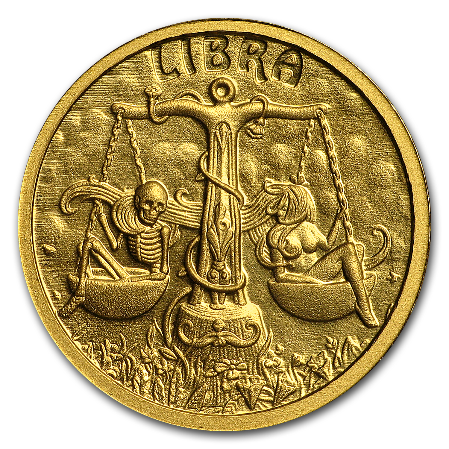 1/10 oz Gold Proof Round - Zodiac Skull Series (Libra)