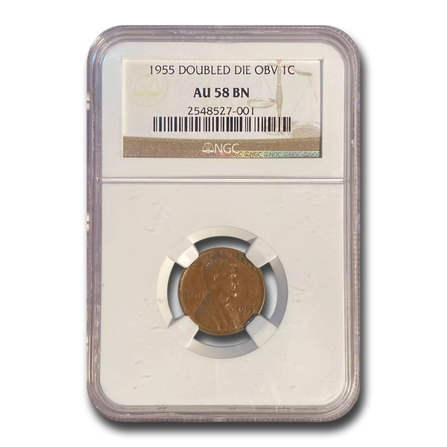 1955 Lincoln Cent Doubled Die Obverse AU-58 NGC