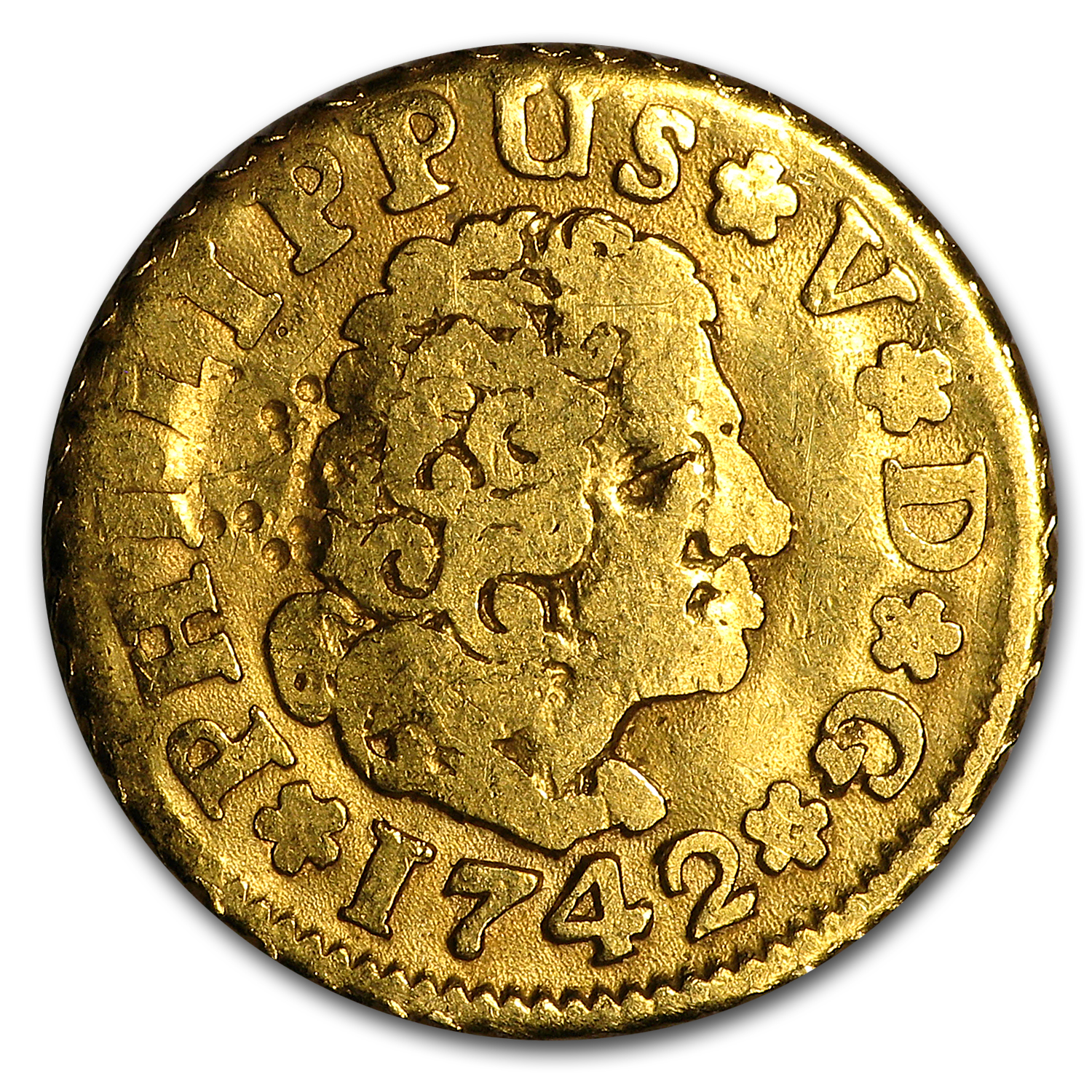 1700-1870 Spain Gold 1/2 Escudo Random Date (Cleaned)