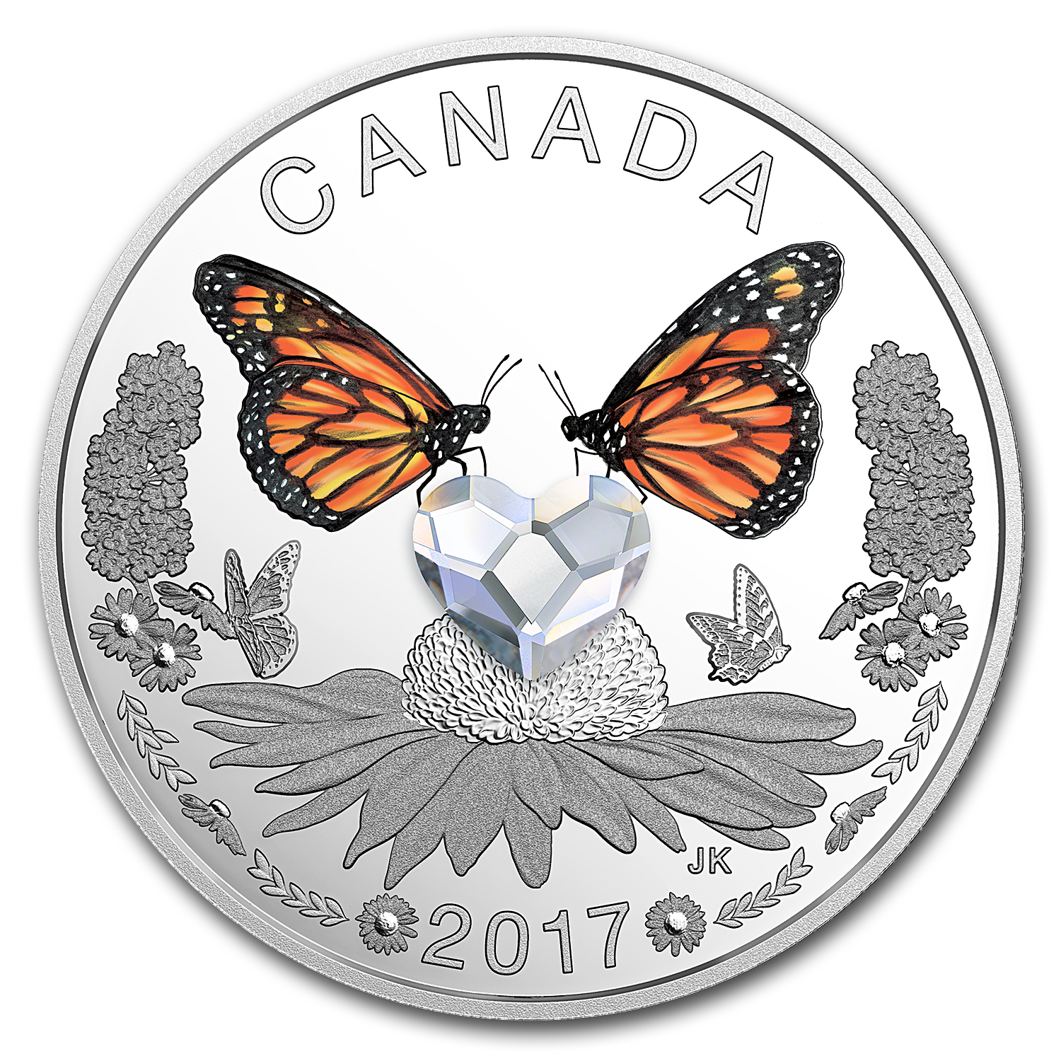 2017 Canada 1/4 oz Silver $3 Celebration of Love (Butterflies)