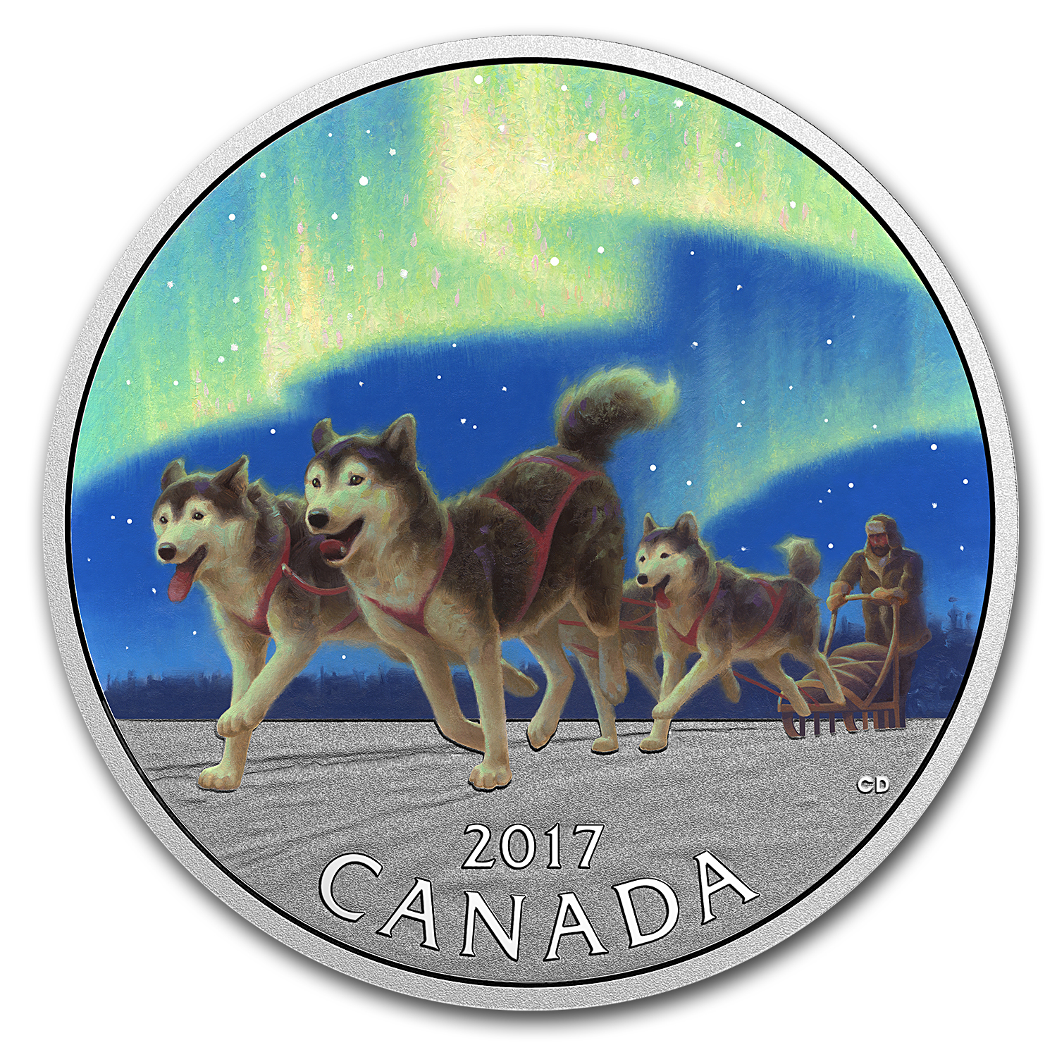 2017 Canada 1/2 oz Ag $10 Dog Sledding Under the Northern Lights