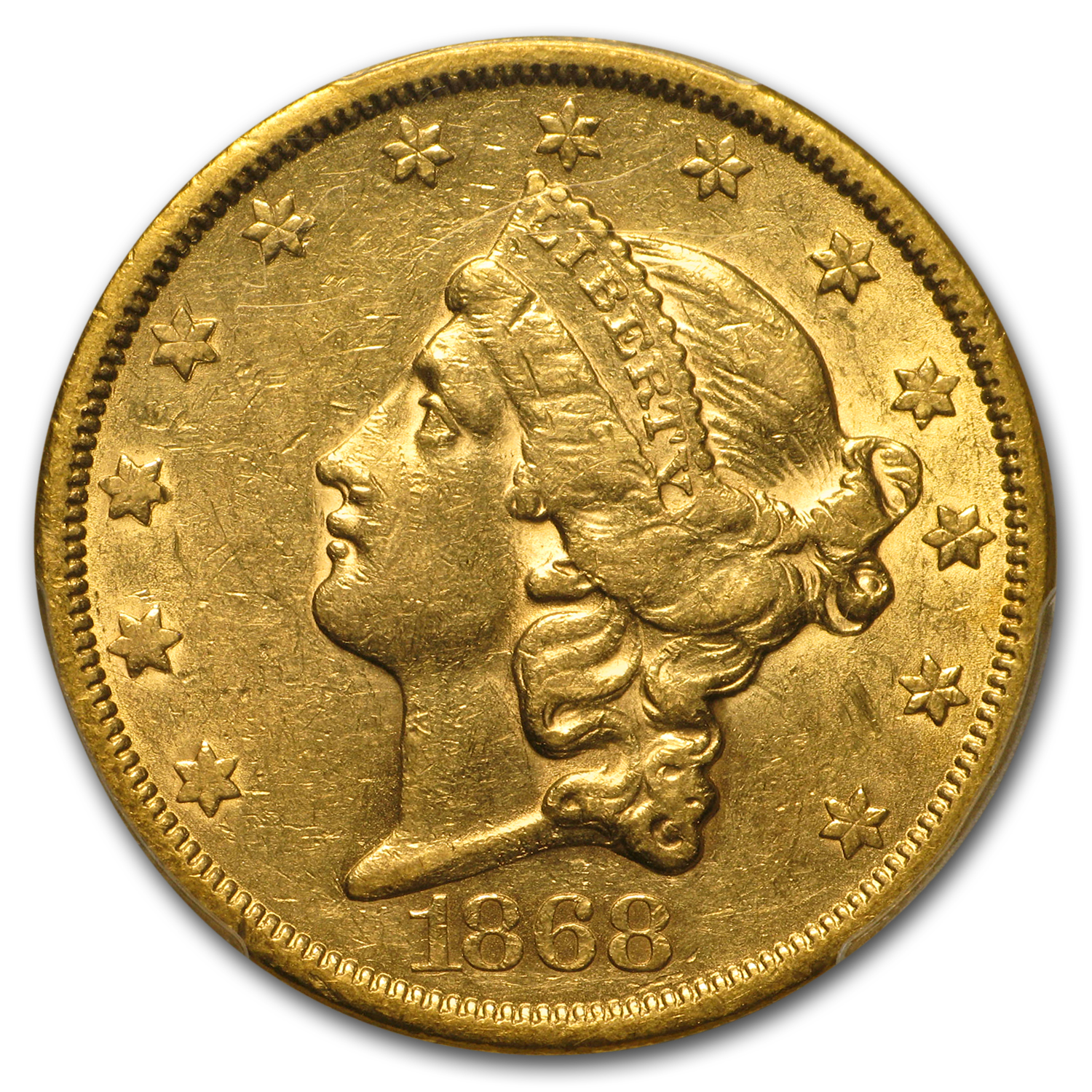 1868-S $20 Liberty Gold Double Eagle AU-55 PCGS