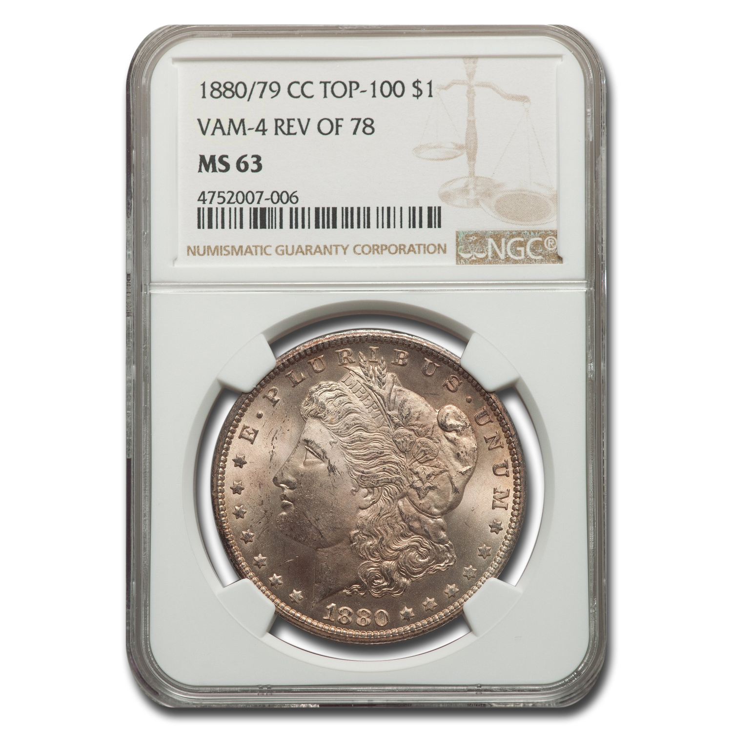 1880/79-CC Morgan Dollar Rev of 78 MS-63 NGC (VAM-4 Top-100)