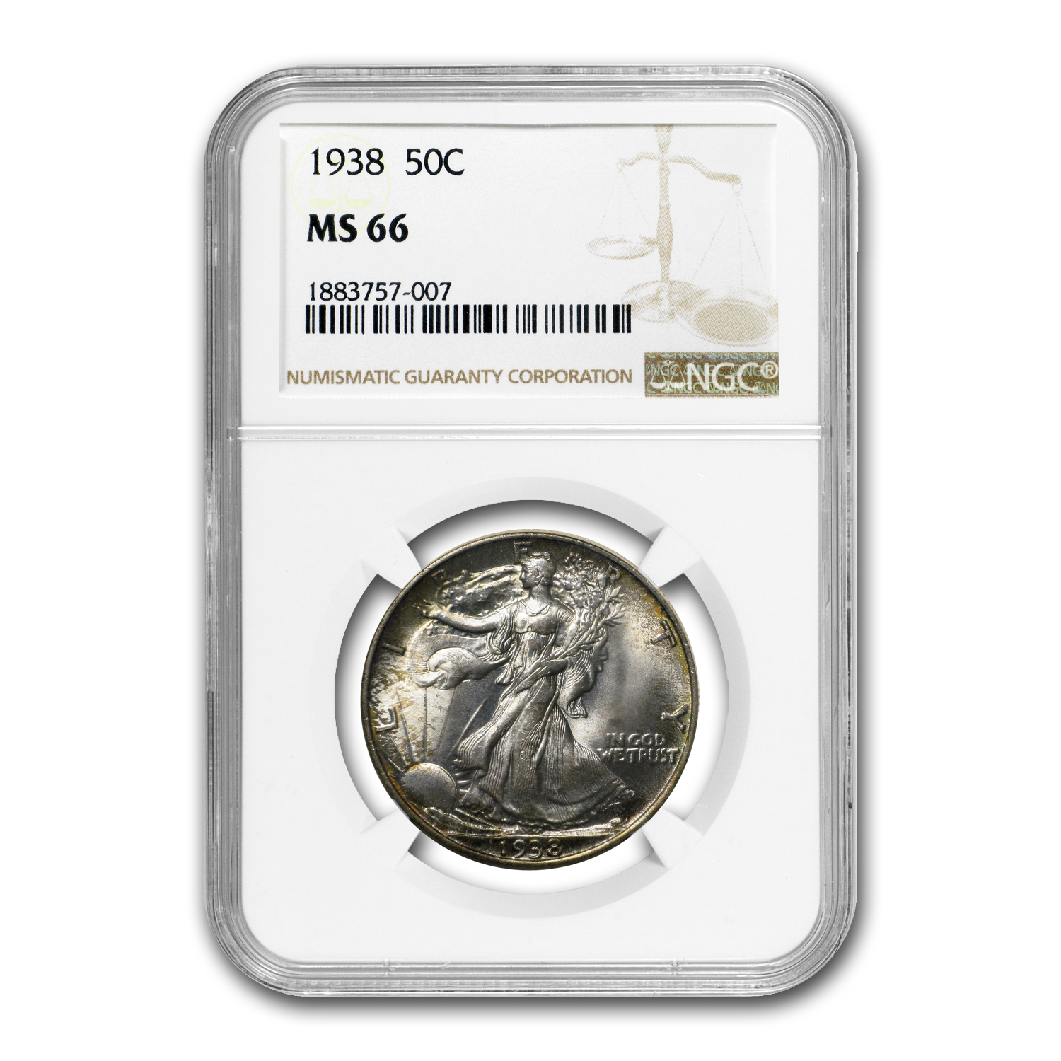 1938 Walking Liberty Half Dollar MS-66 NGC