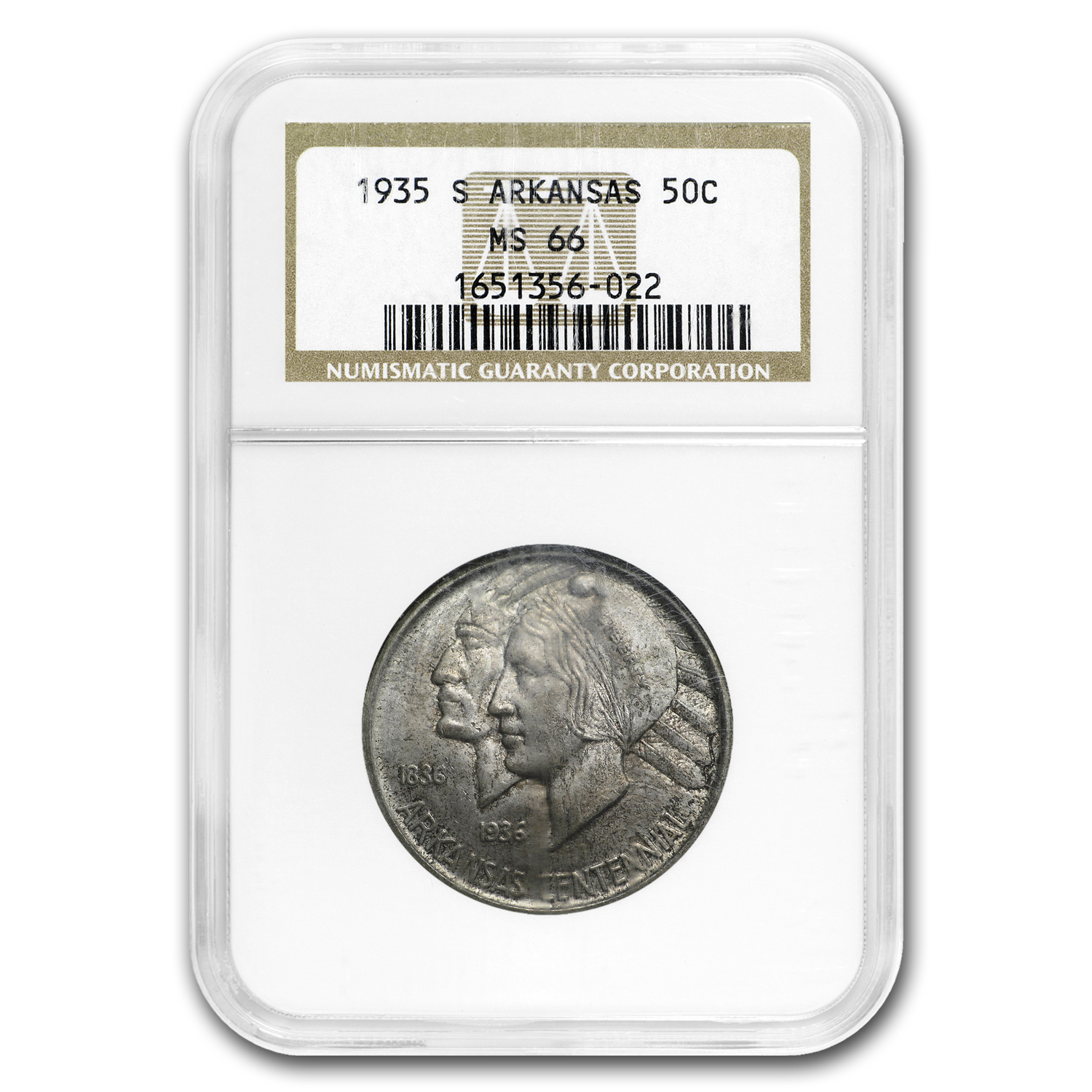1935-S Arkansas Centennial Half Dollar MS-66+ NGC