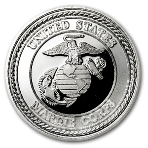 1 oz Silver Rounds - U.S. Marines (w/Box & Capsule)