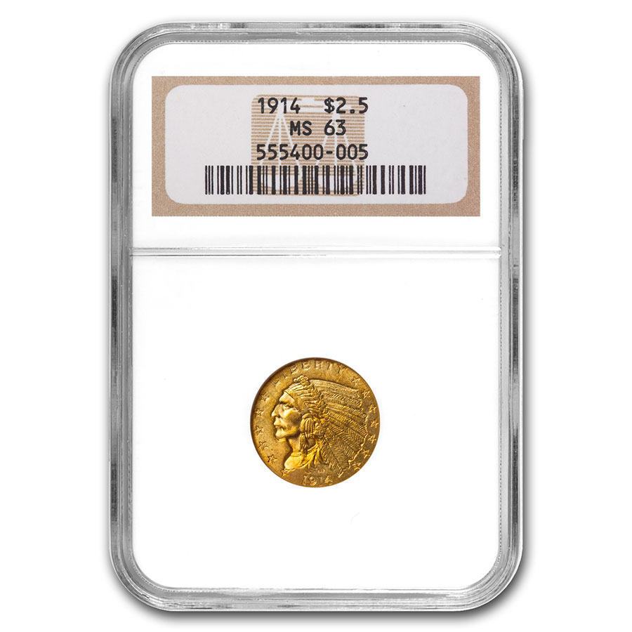 1914 $2.50 Indian Gold Quarter Eagle MS-63 NGC