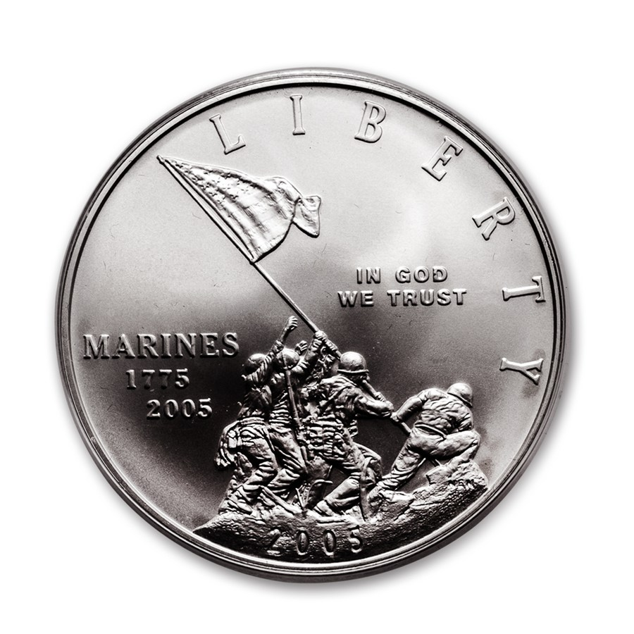2005-P Marine Corps 230th Anniv $1 Silver Commem BU (w/Box & COA)
