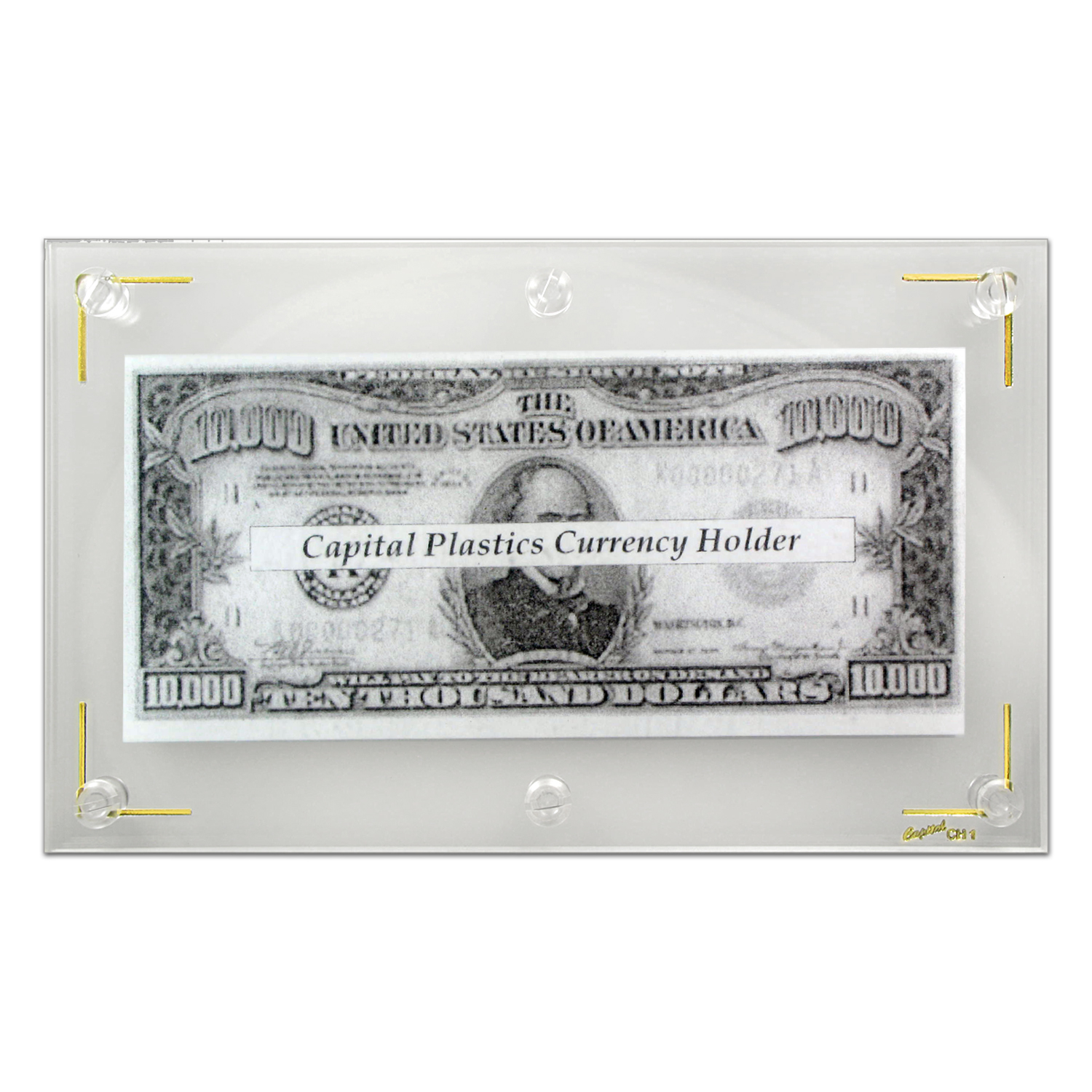 Capital Plastic Hard Currency Holder CH1 - Measures 4 1/2 x 7 1/2