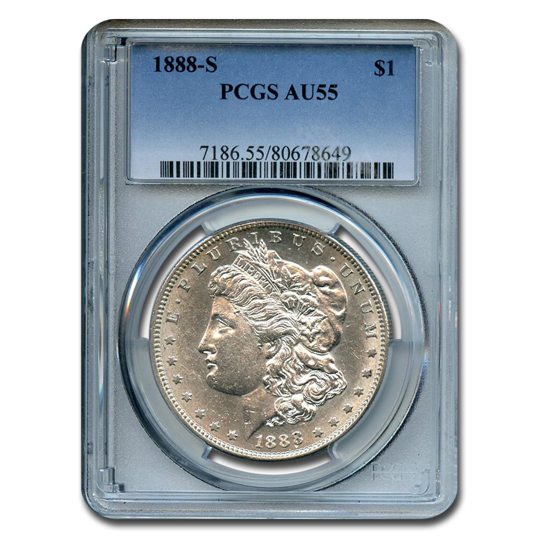 1888 S Morgan Dollar Au 55 Pcgs Value Of Silver