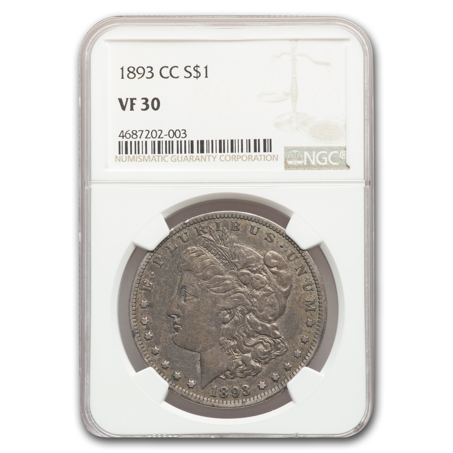 1893-CC Morgan Dollar VF-30 NGC