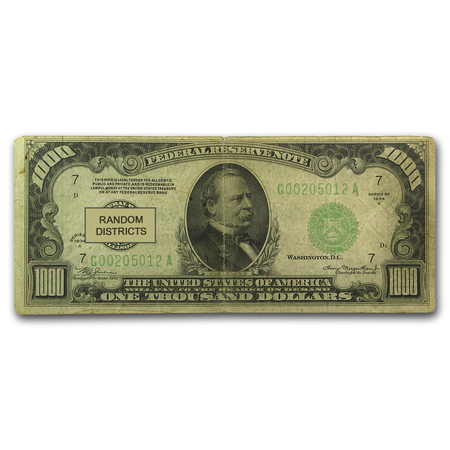 1934/34-A $1,000 FRN Good/VG - (Districts of Our Choice)