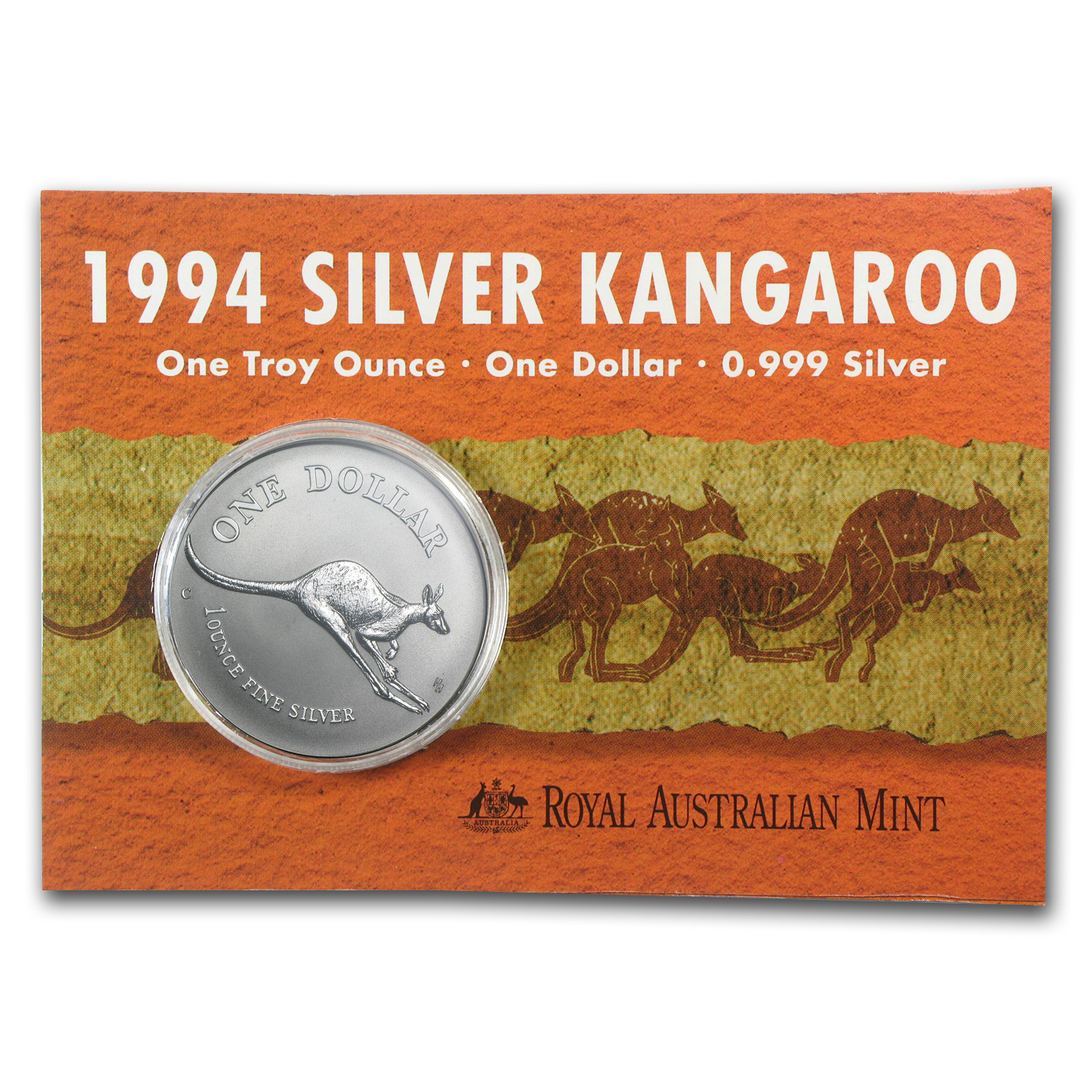 1994 Australia 1 oz Silver Kangaroo (In Display Card)