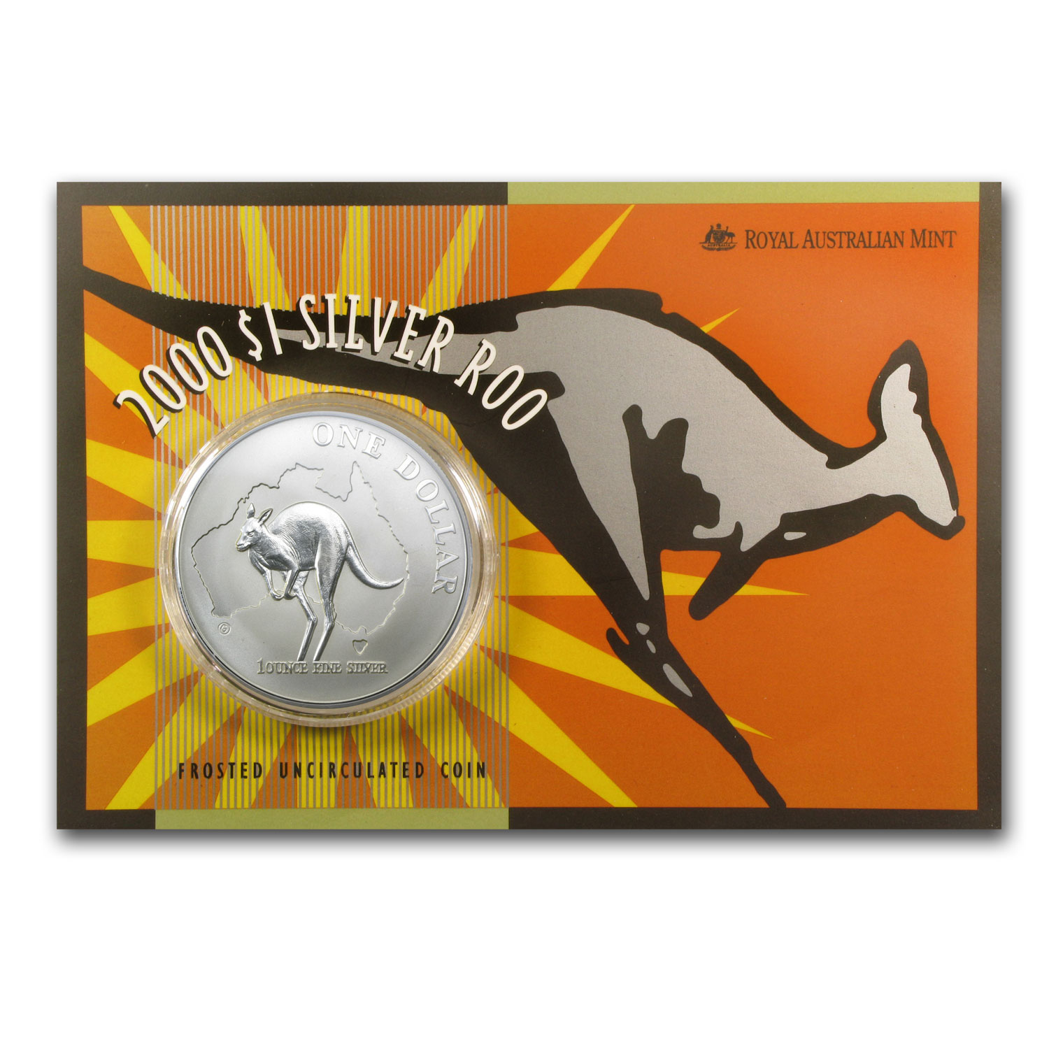 2000 Australia 1 oz Silver Kangaroo (In Display Card)