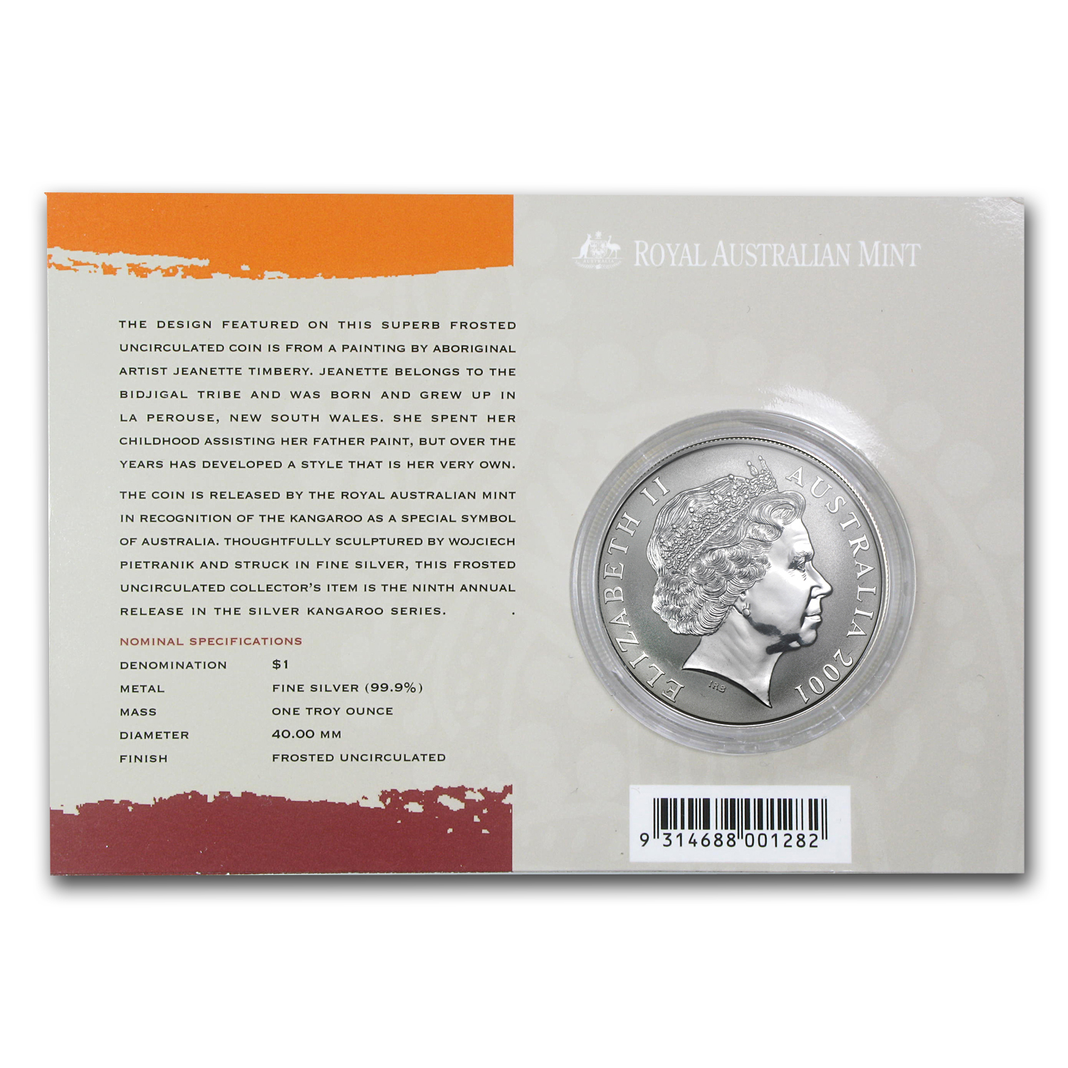 2001 Australia 1 oz Silver Kangaroo (In Display Card)