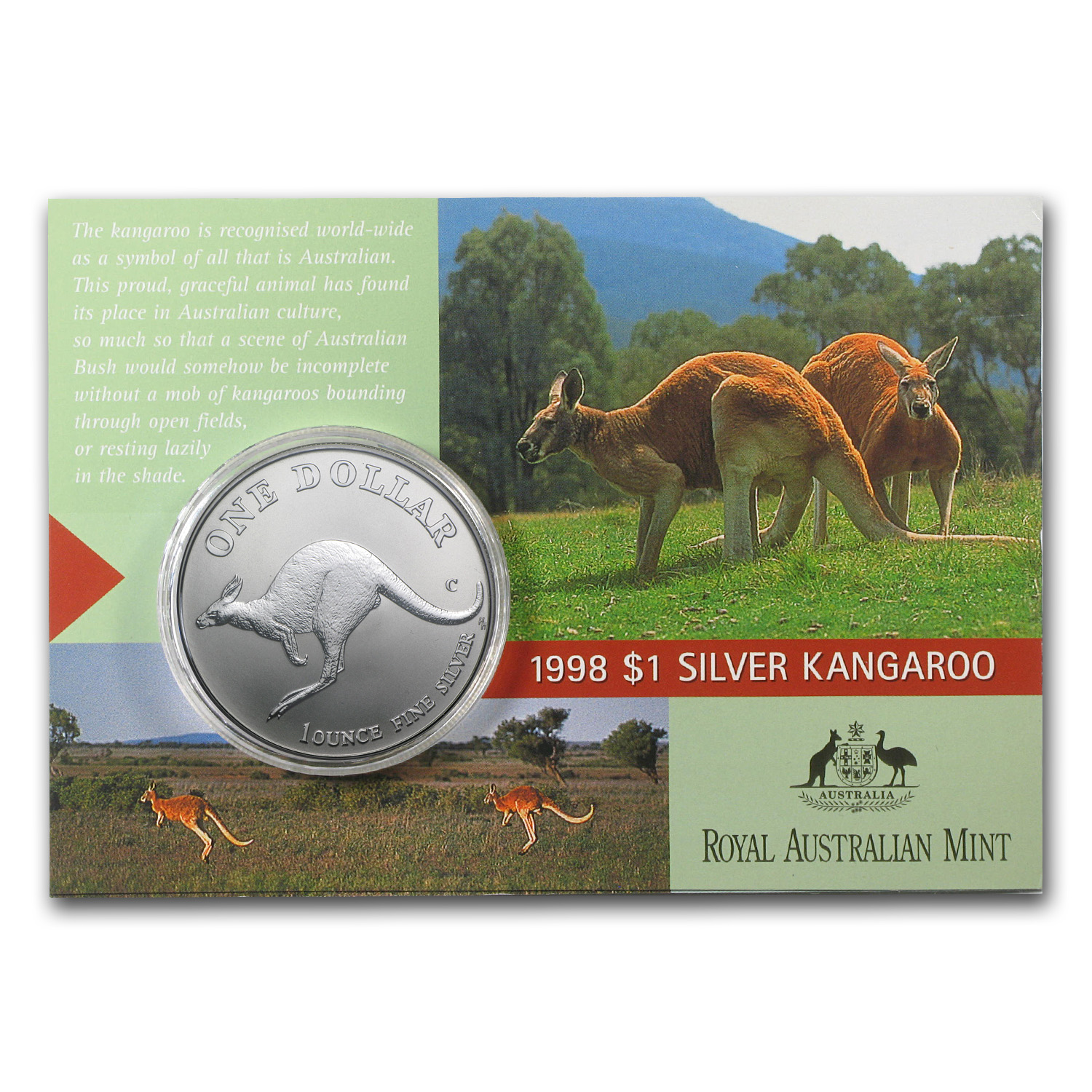 1998 Australia 1 oz Silver Kangaroo (In Display Card)