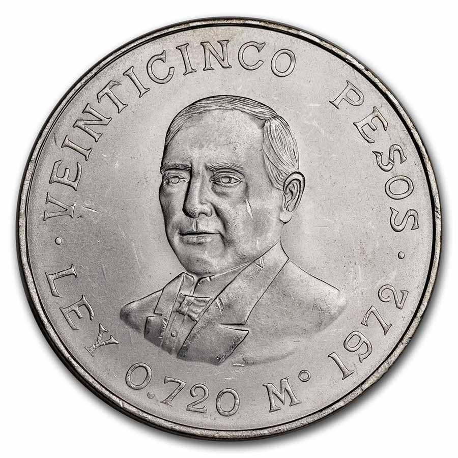 1972 Mexican Silver 25 Pesos Juarez Au Bu Asw 5209