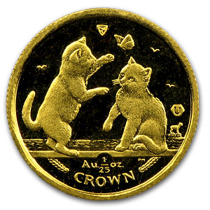 Isle of Man 1/25 oz Gold Cat BU/Proof