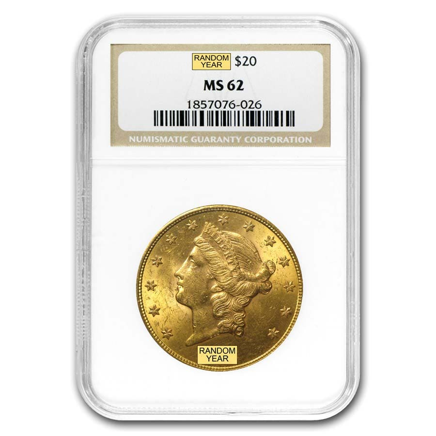 $20 Gold Liberty Double Eagle - MS-62 NGC