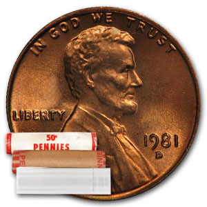 1981-D Lincoln Cent 50-Coin Roll BU
