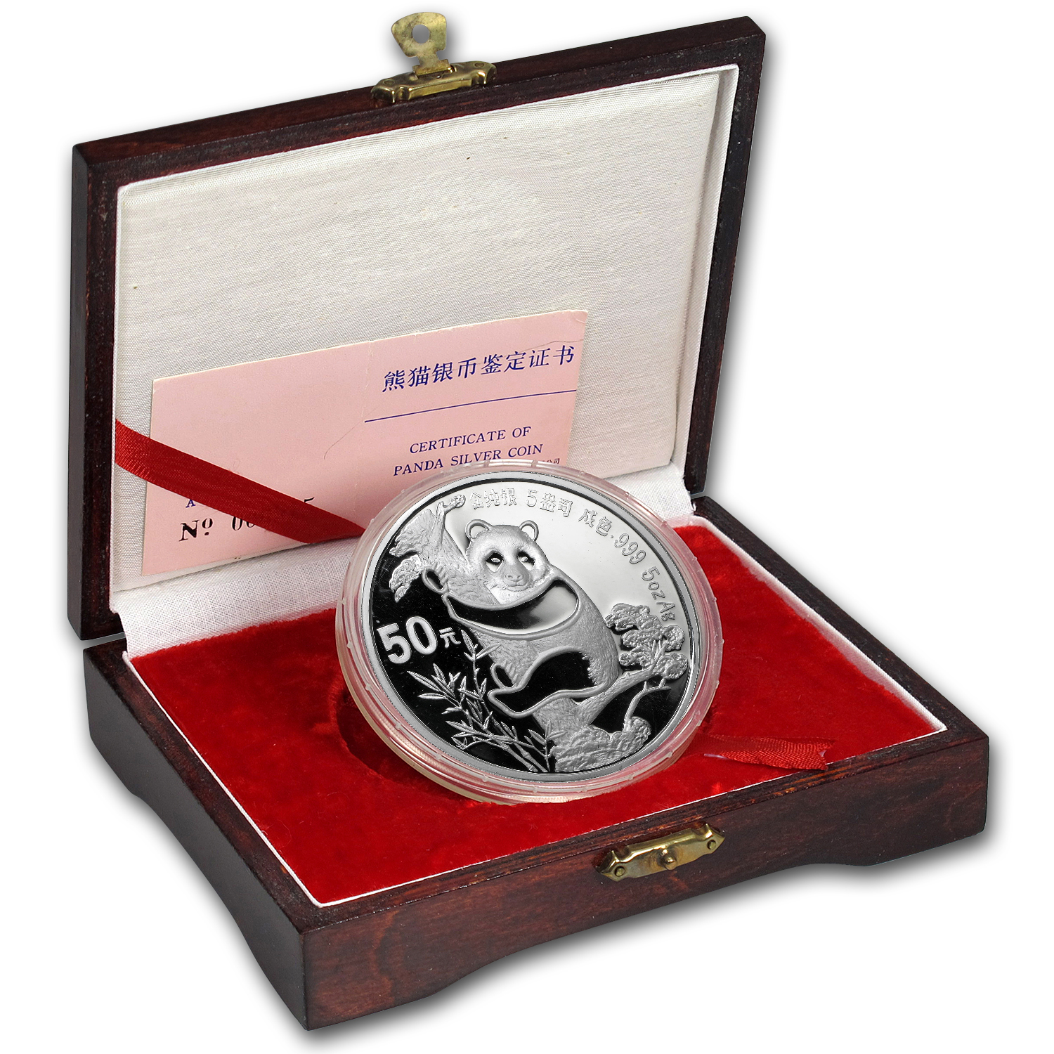 1987 China 5 oz Silver Panda Proof (w/Box & COA)