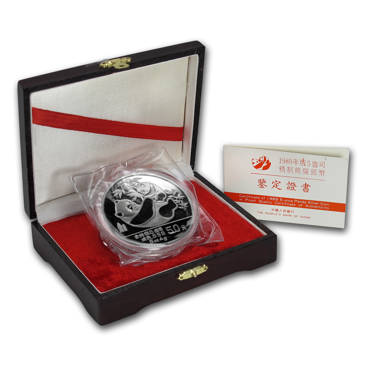 1989 - (5 oz) Silver Panda Proof (W/Box & Coa)