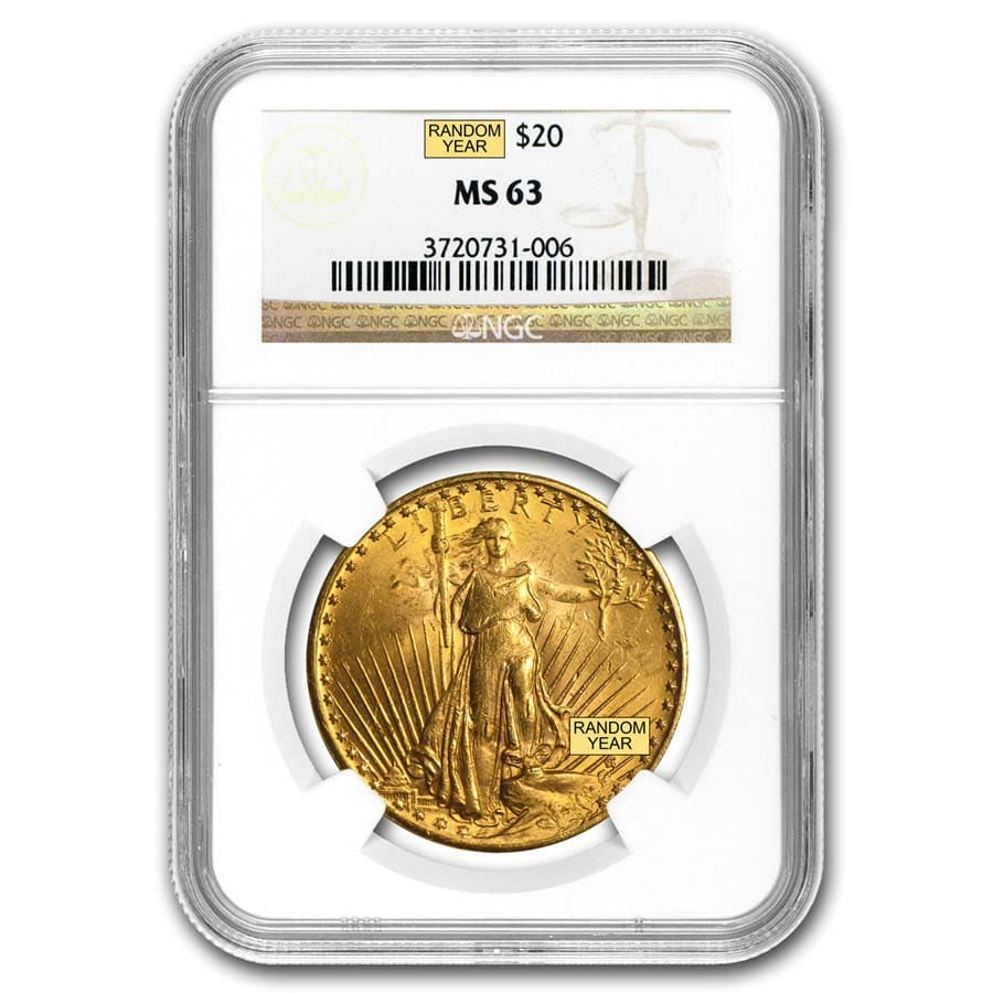 $20 Saint-Gaudens Gold Double Eagle MS-63 NGC