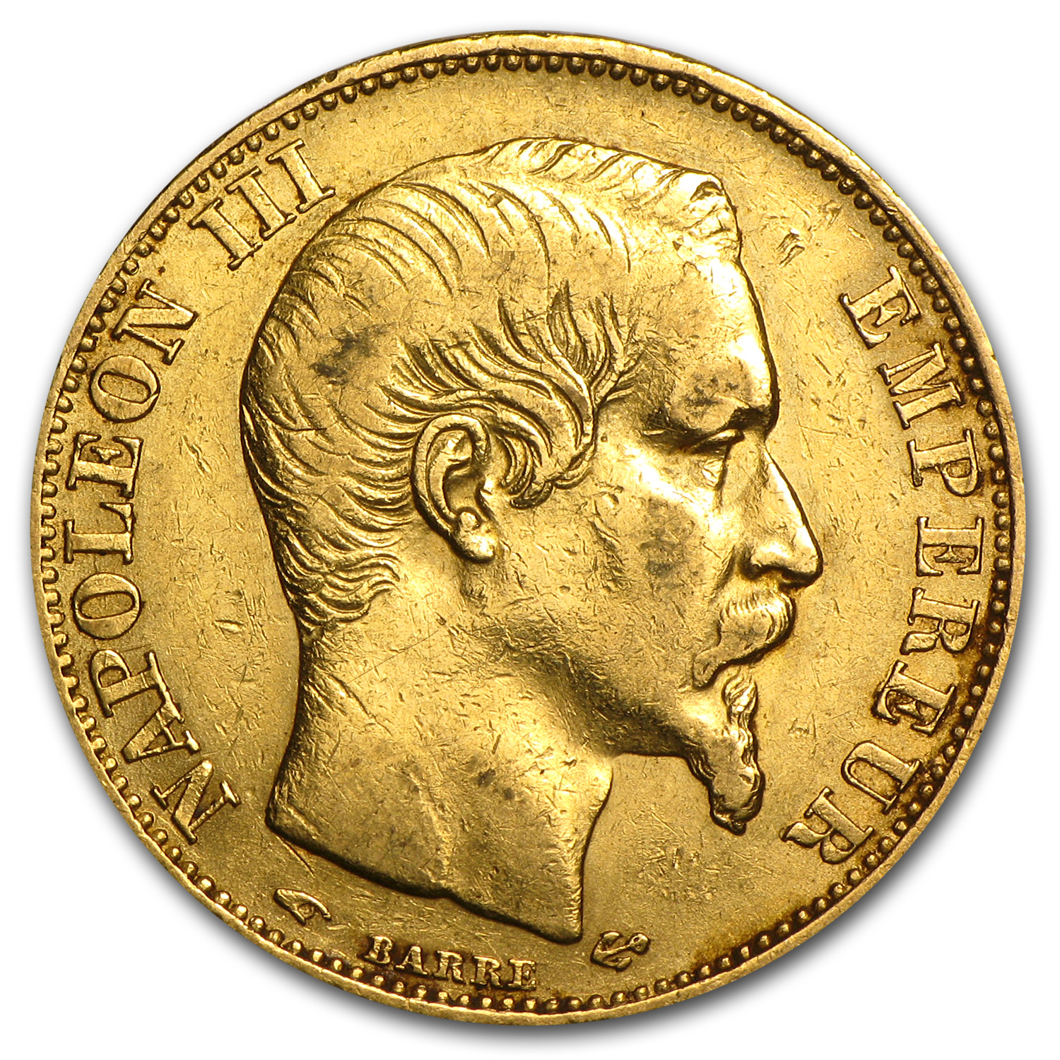French Gold 20 Francs (Napoleon III) (Average Circulated)