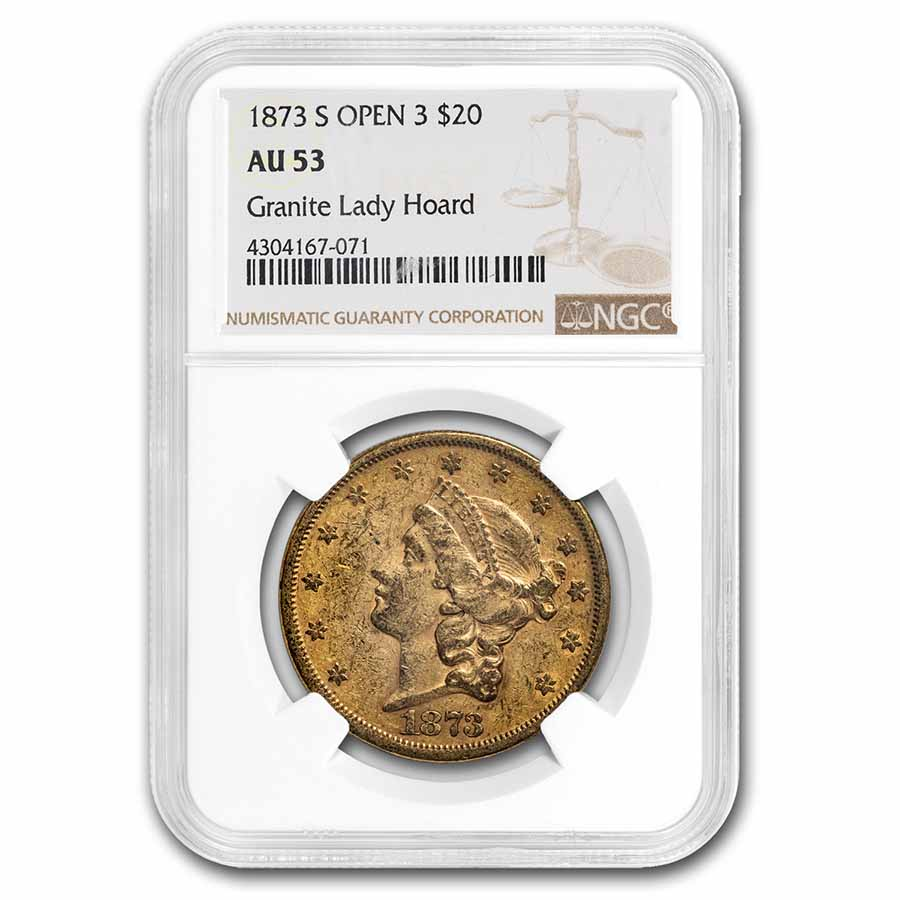 1873 $20 Liberty Gold Double Eagle Open 3 AU-53 NGC