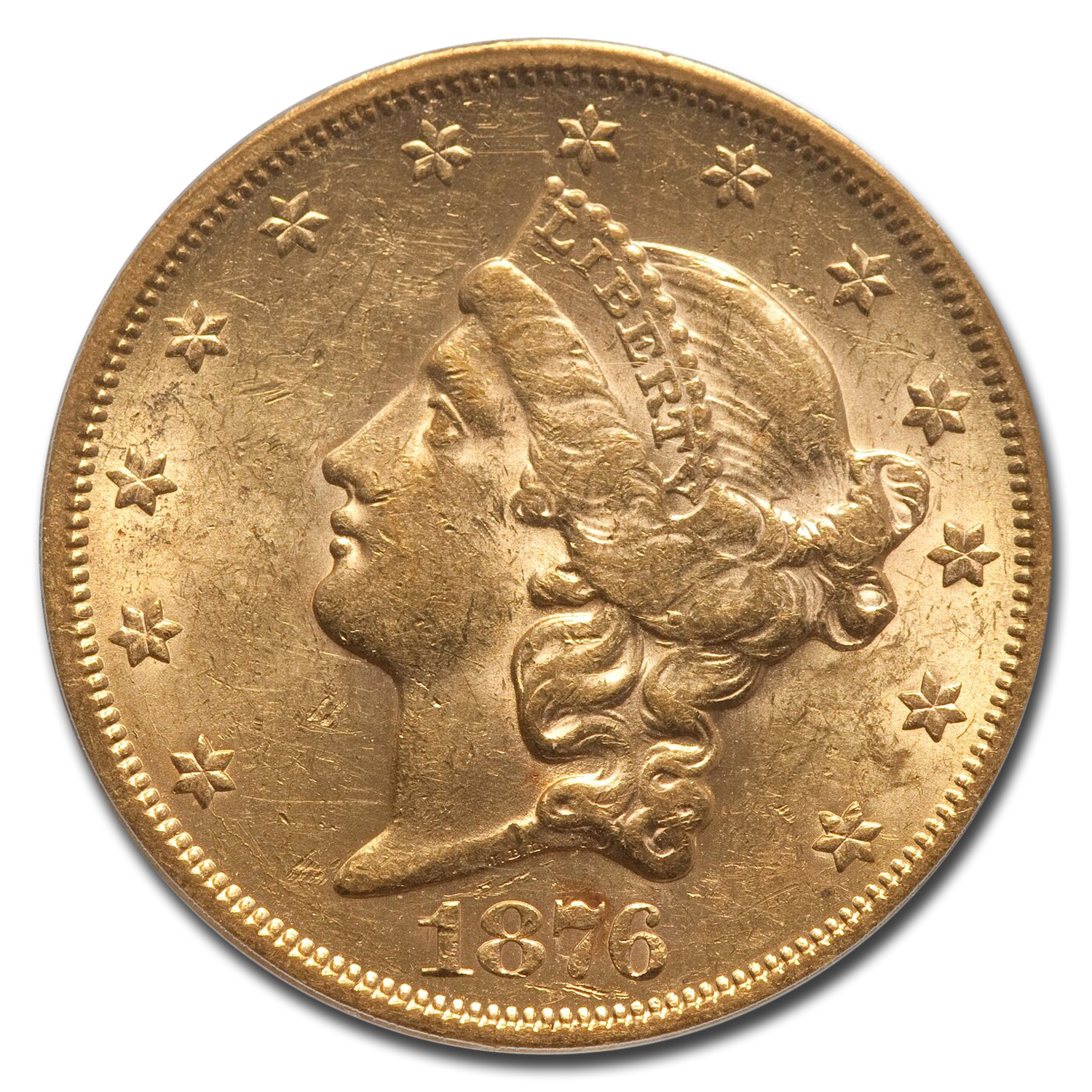 1876-S $20 Gold Liberty Double Eagle - AU-58 PCGS