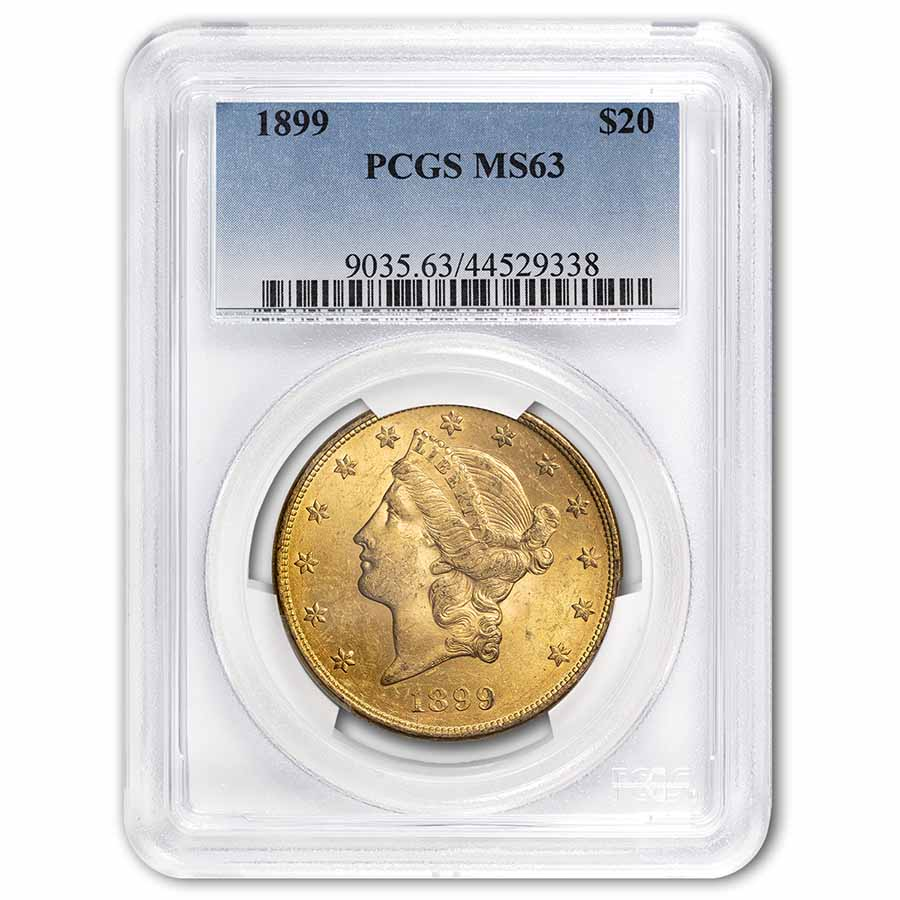 1899 $20 Gold Liberty Double Eagle MS-63 PCGS