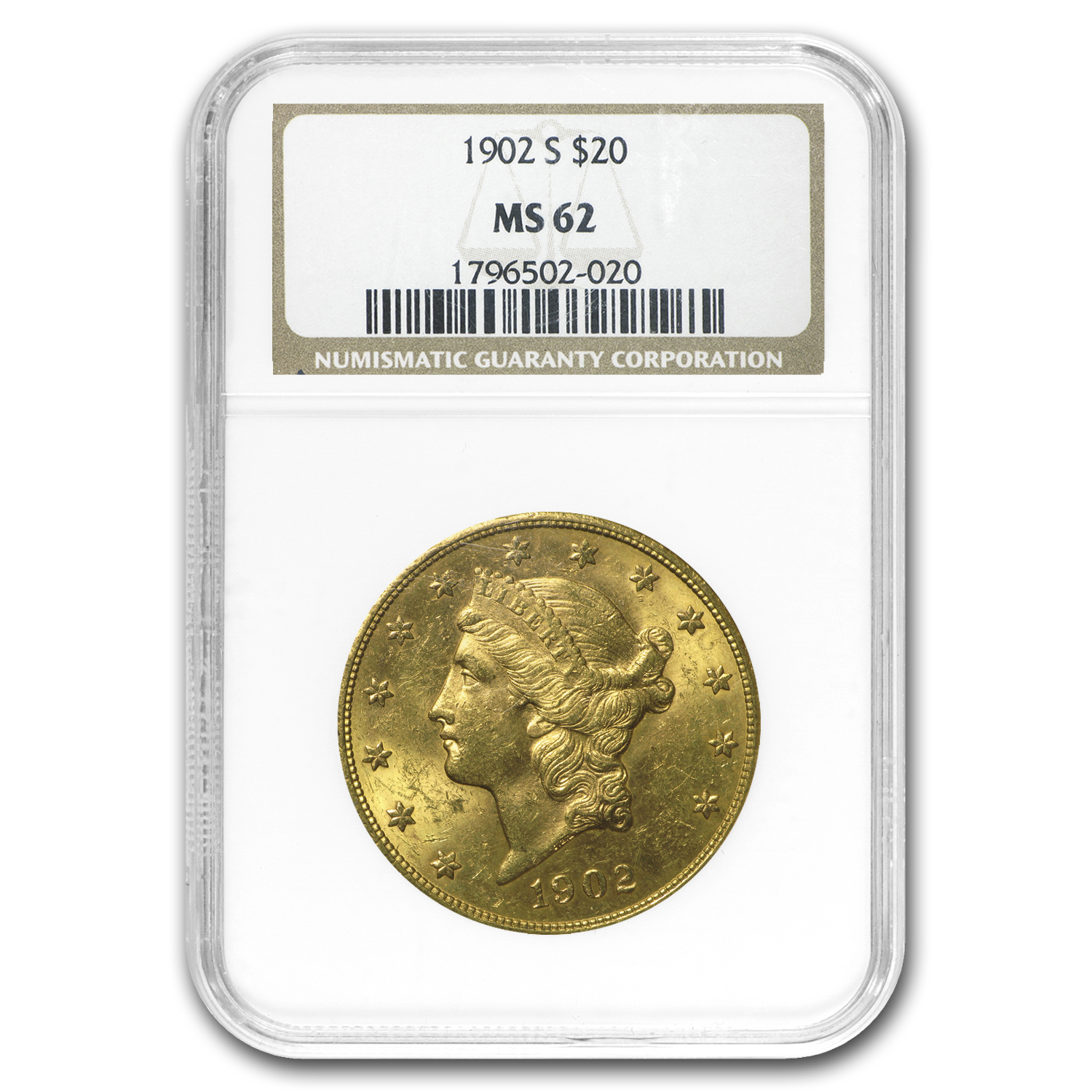 1902-S $20 Liberty Gold Double Eagle MS-62 NGC