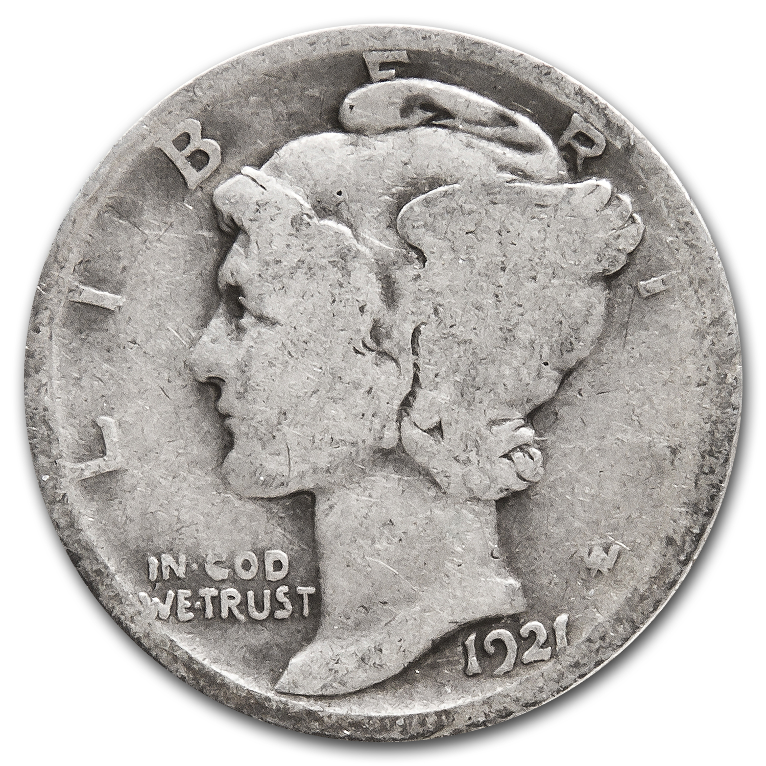 1921 Mercury Dime Good