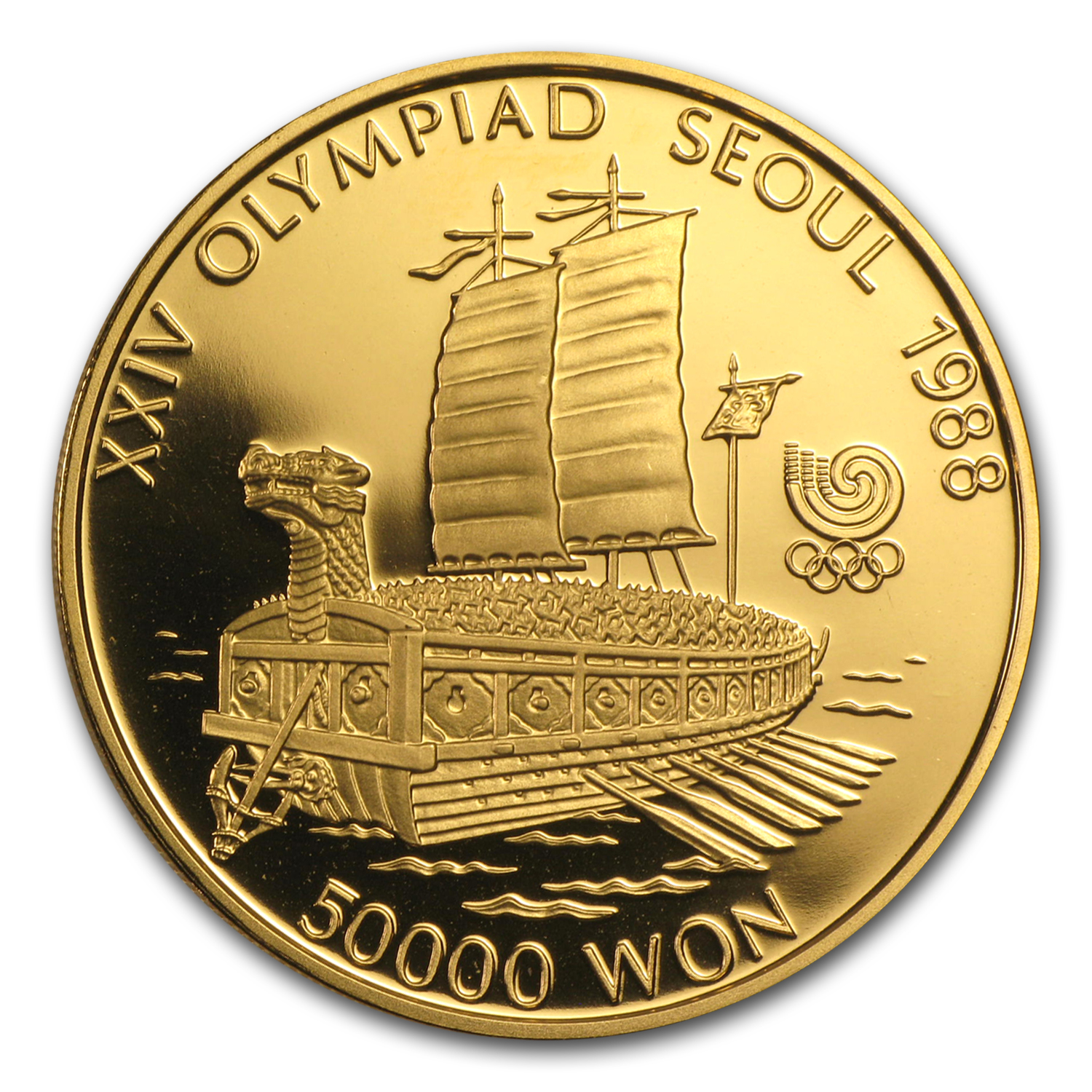 1986-1988 South Korea 1 oz Gold 50,000 Won Olympics Proof