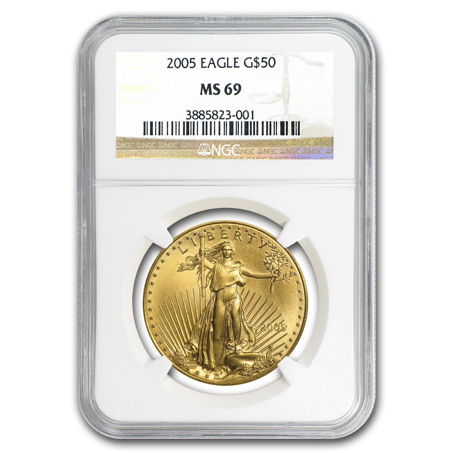 2005 1 oz Gold American Eagle MS-69 NGC