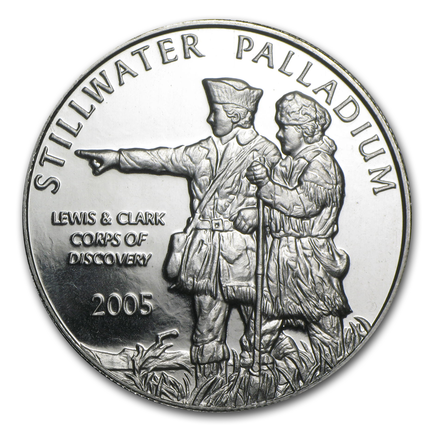 1 oz Johnson Matthey Palladium Lewis & Clark Round (No Assay)