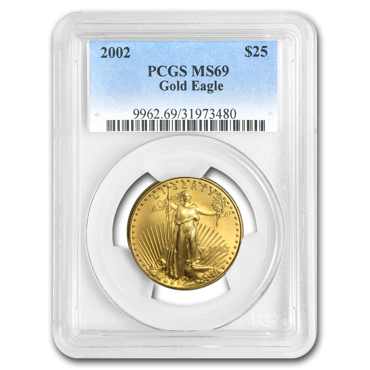 2002 1/2 oz Gold American Eagle MS-69 PCGS
