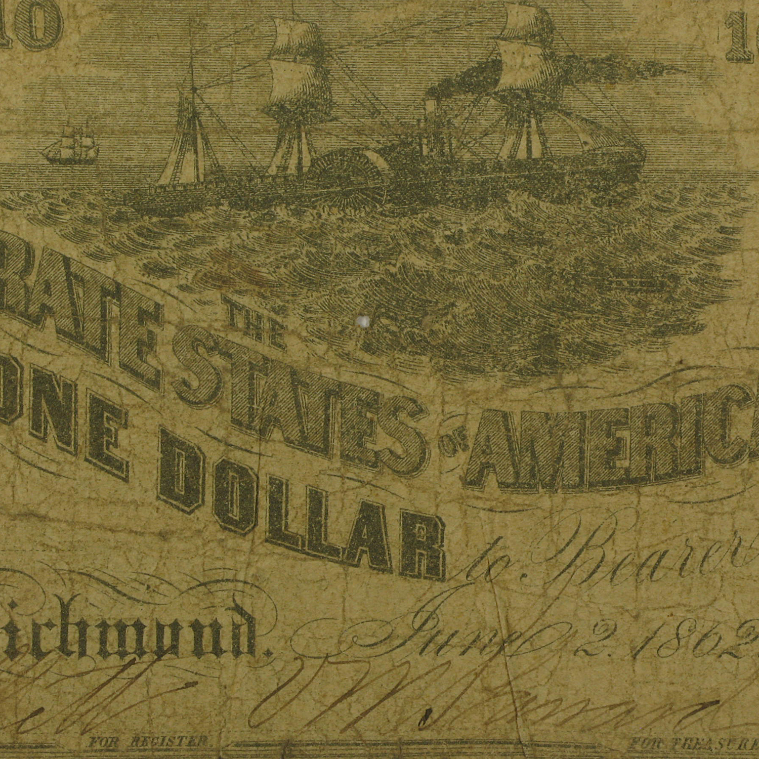 1862 $1.00 (T-44) Steamship at Sea & Lucy Pickens Good