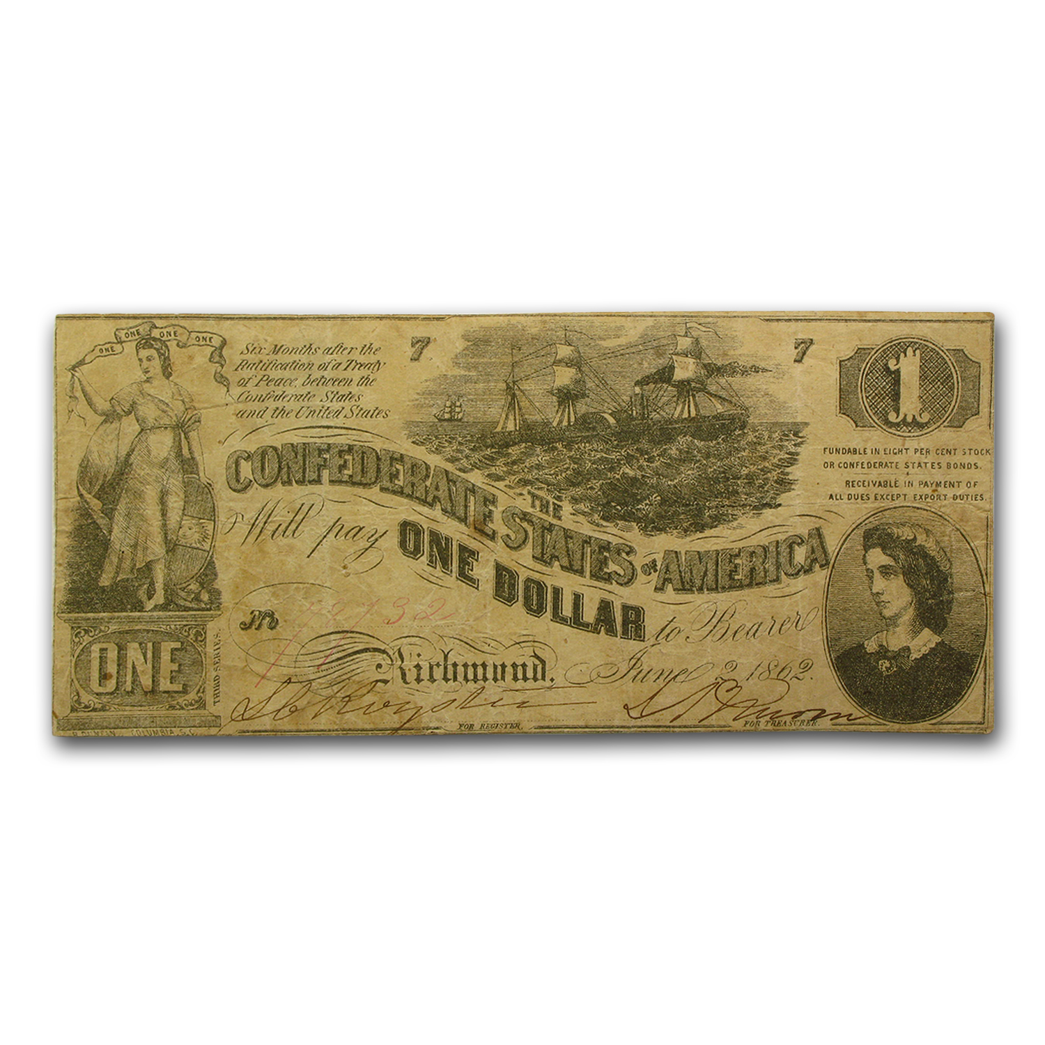 1862 $1.00 (T-44) Steamship at Sea, Lucy Pickens Fine