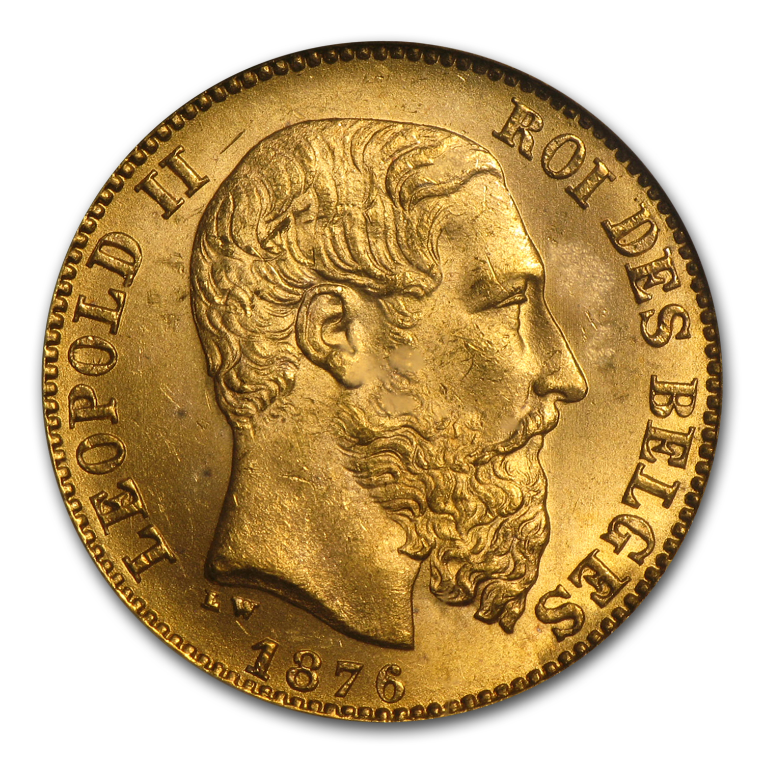 Belgium 1875 20 Francs Gold (Leopold II) -Brilliant Uncirculated