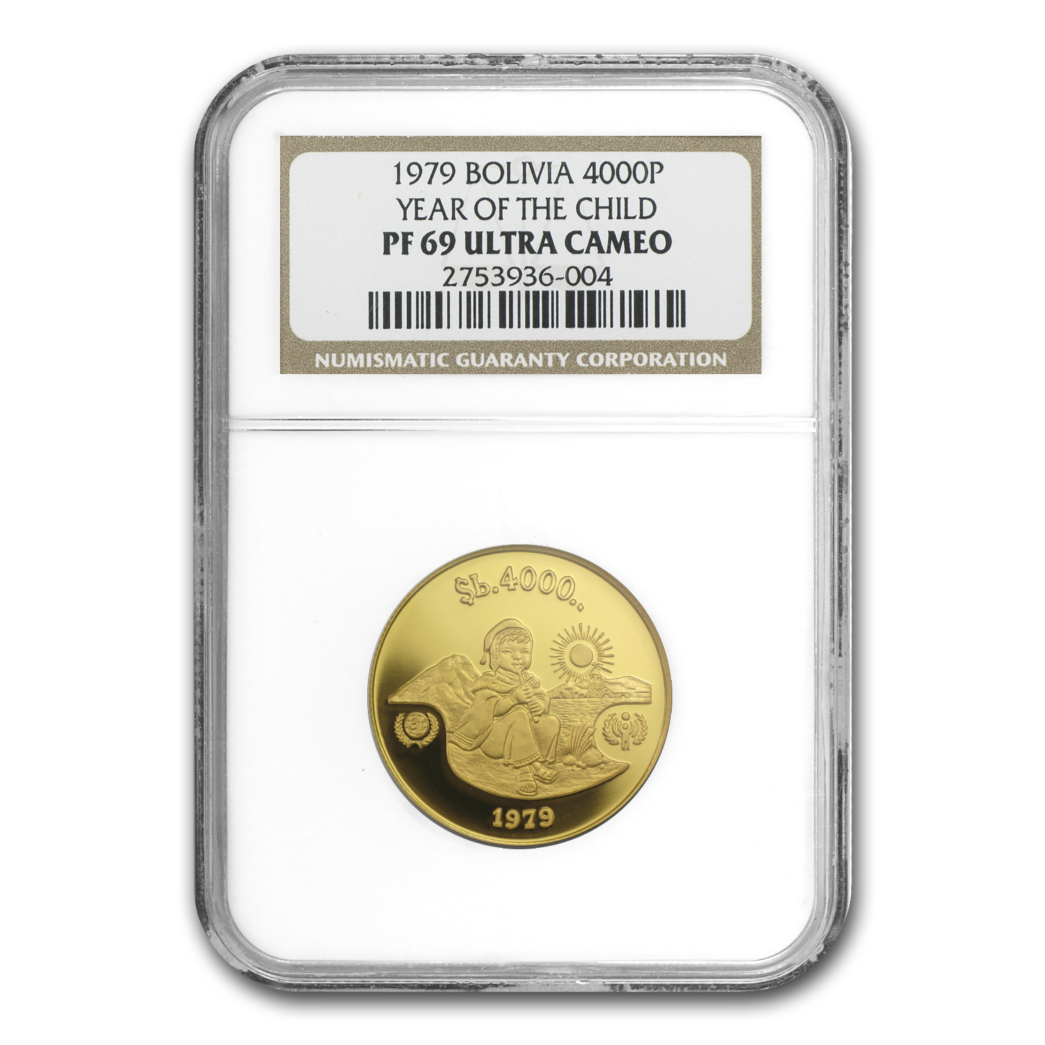 1979 Bolivia Gold 4000 Pesos Year of the Child PF-69 NGC