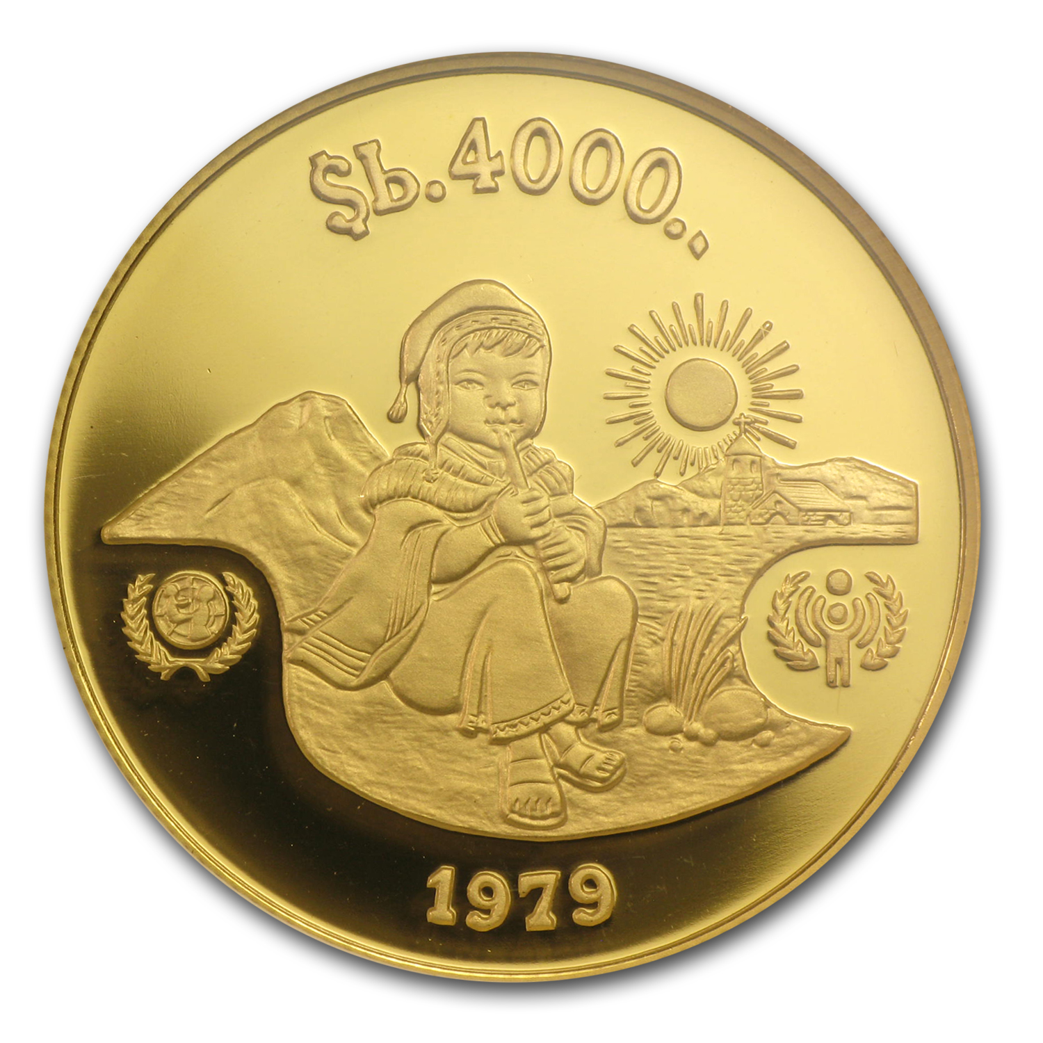 Bolivia 1979 4,000 Pesos Bolivianos Gold Proof - Year of Child